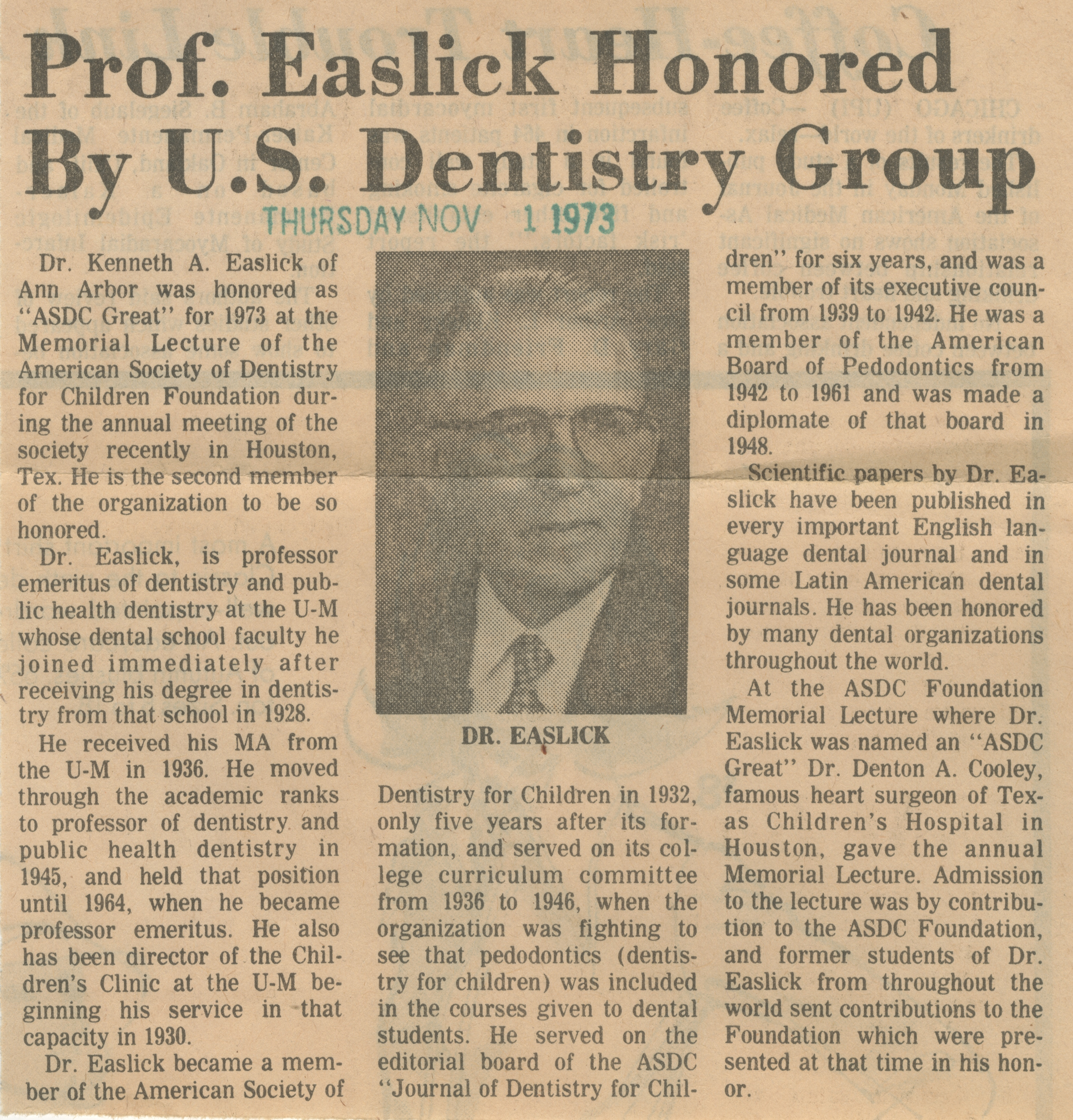 Prof. Easlick Honored By U.S. Dentistry Group image