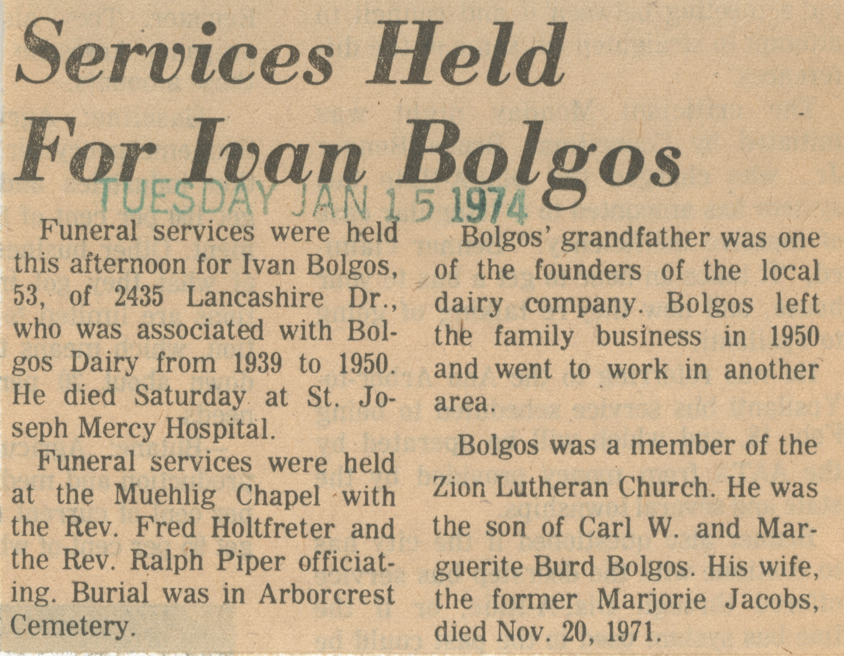 Services Held For Ivan Bolgos image