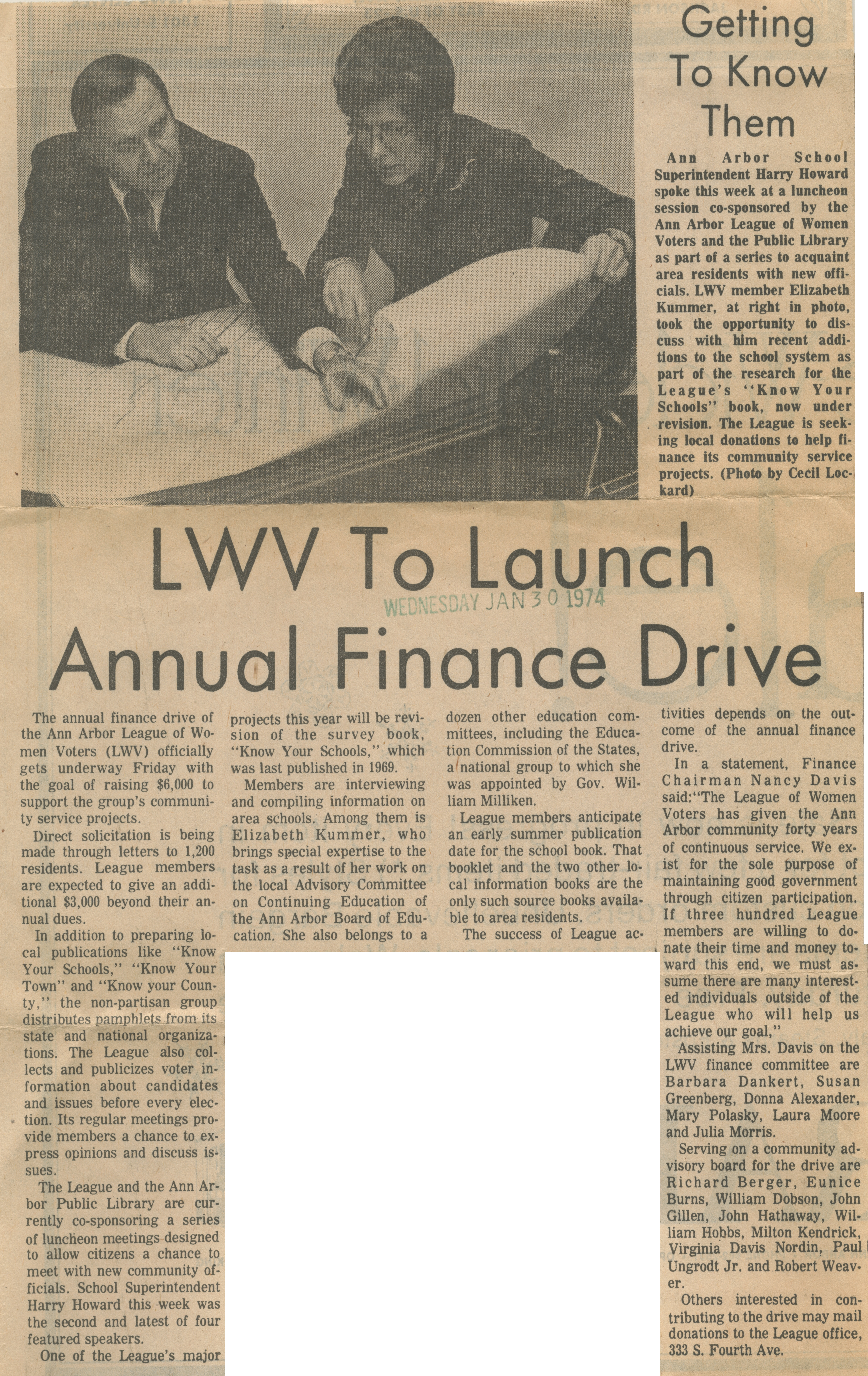 LWV To Launch Annual Finance Drive image