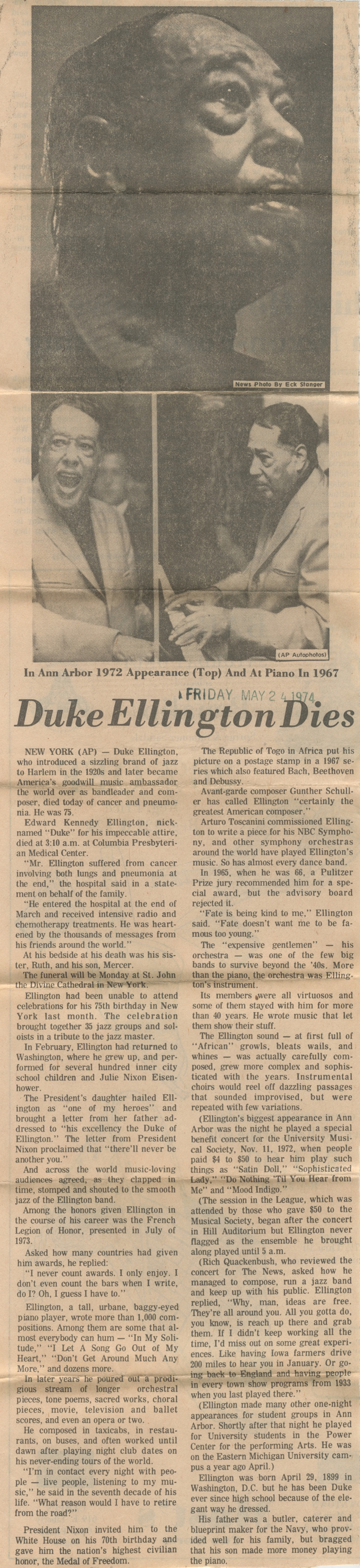 Duke Ellington Dies image