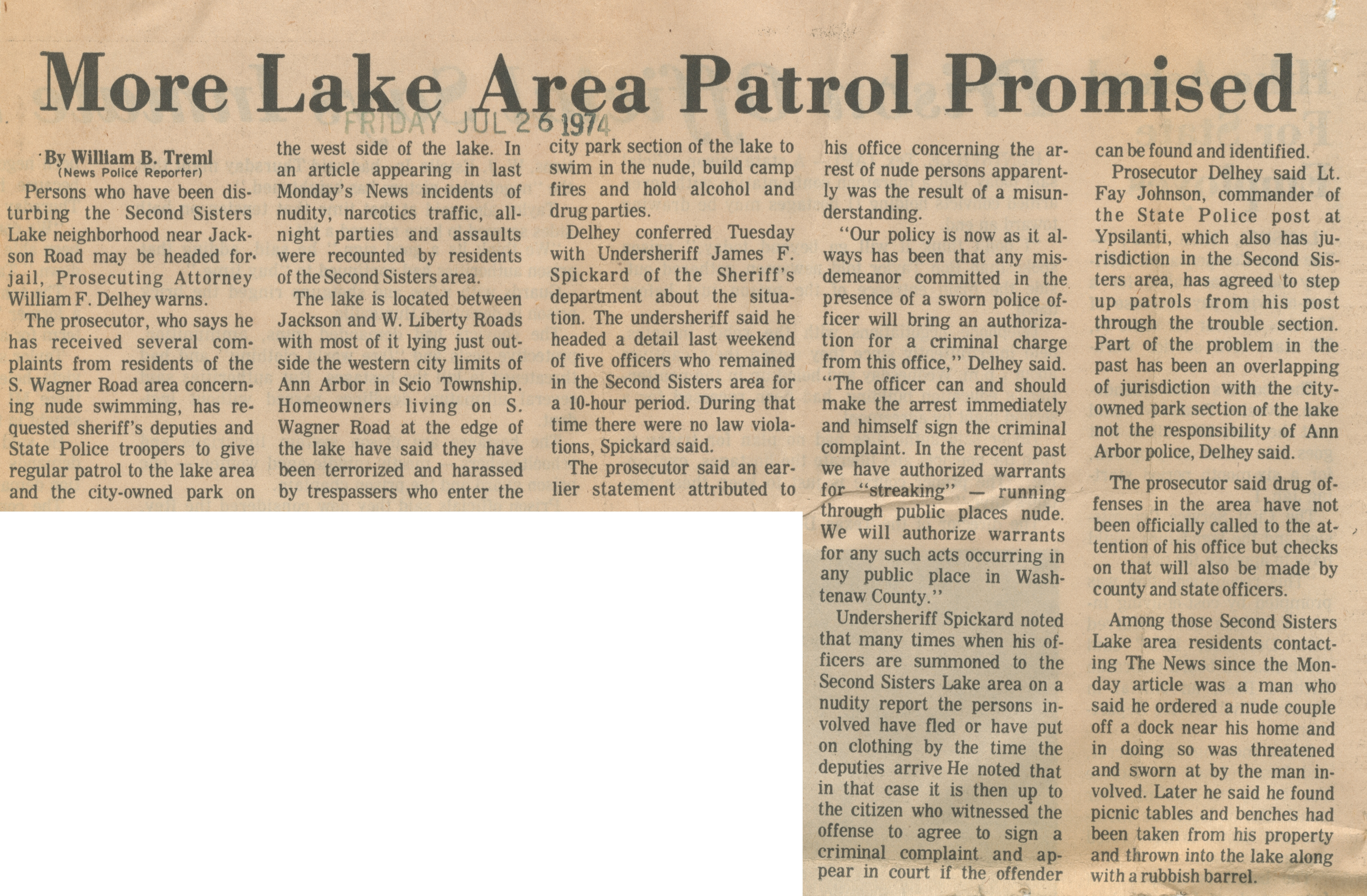 More Lake Area Patrol Promised image