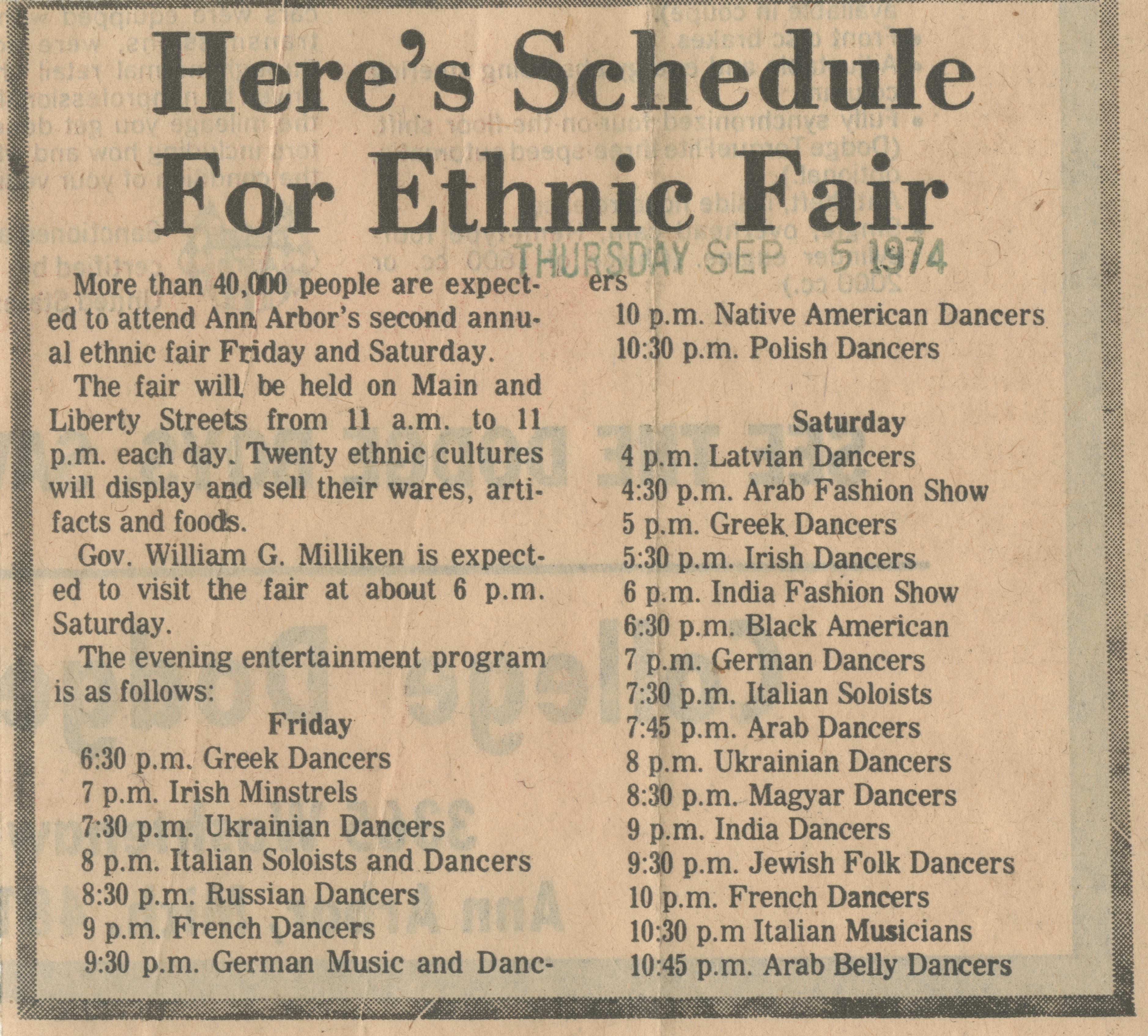 Here's Schedule For Ethnic Fair image