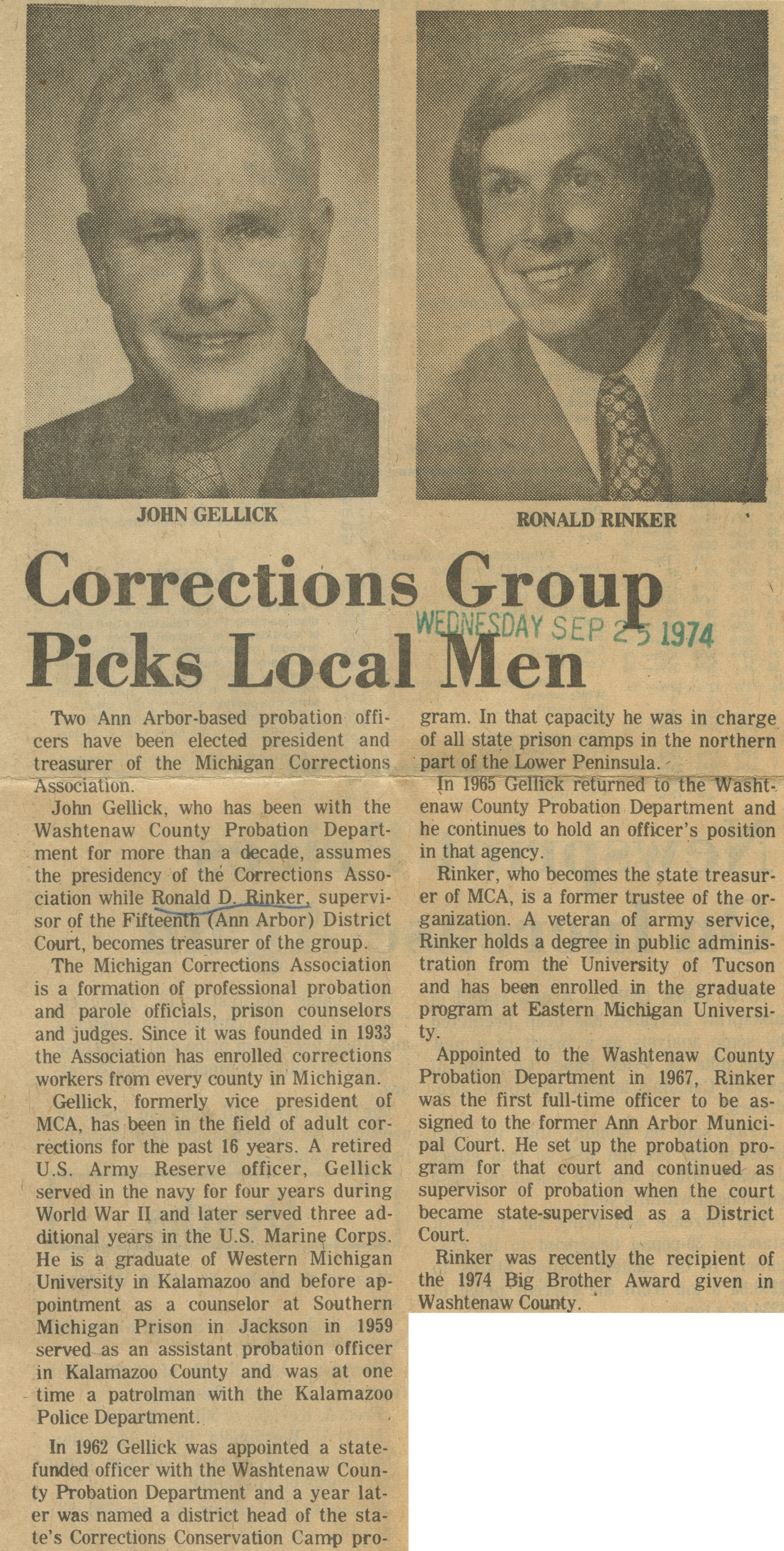 Corrections Group Picks Local Men image