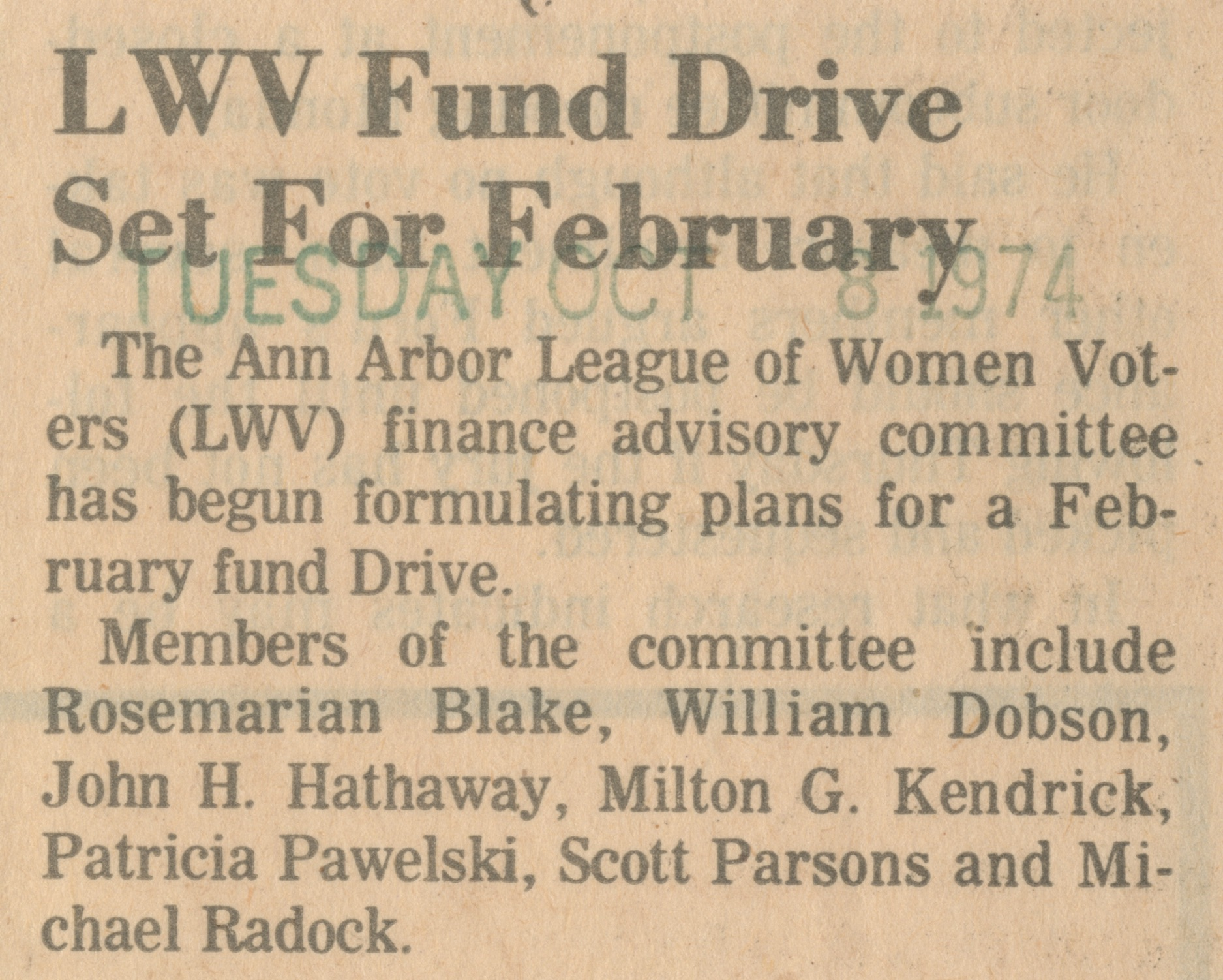 LWV Fund Drive Set For February image
