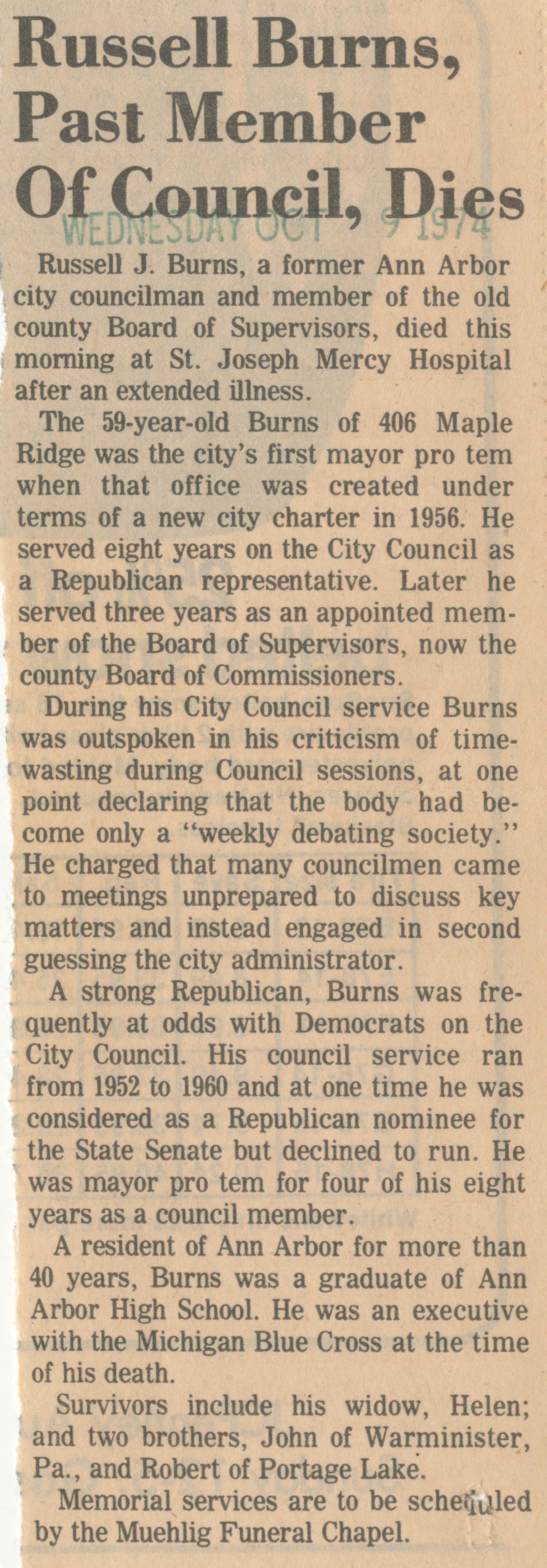 Russell Burns, Past Member Of Council, Dies image