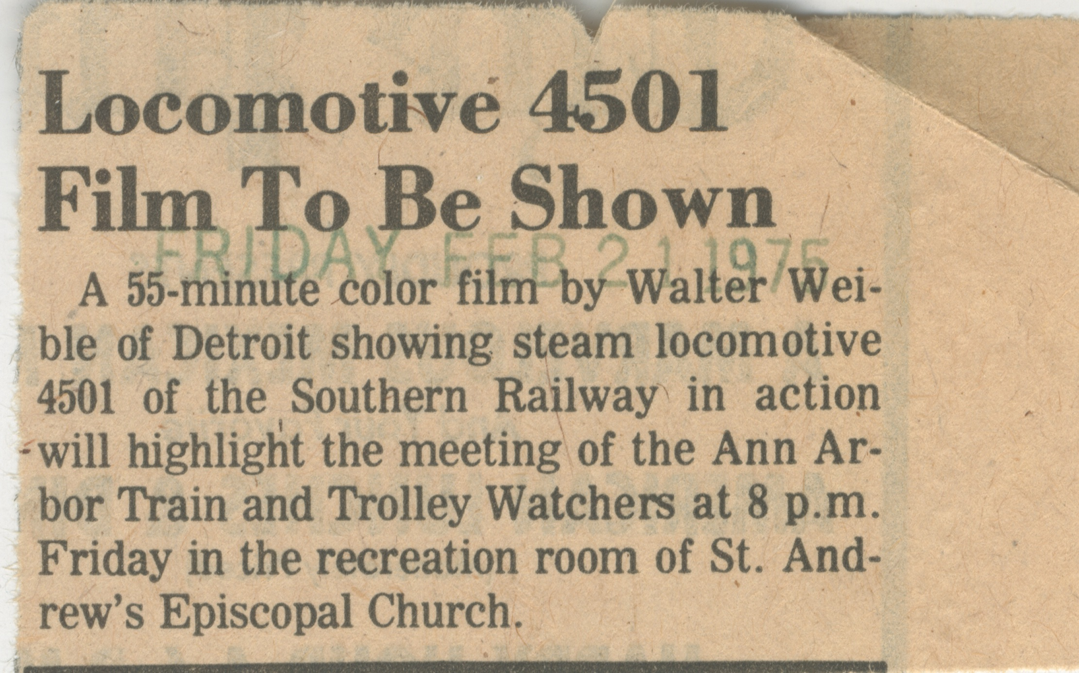 Locomotive 4501 Film To Be Shown image