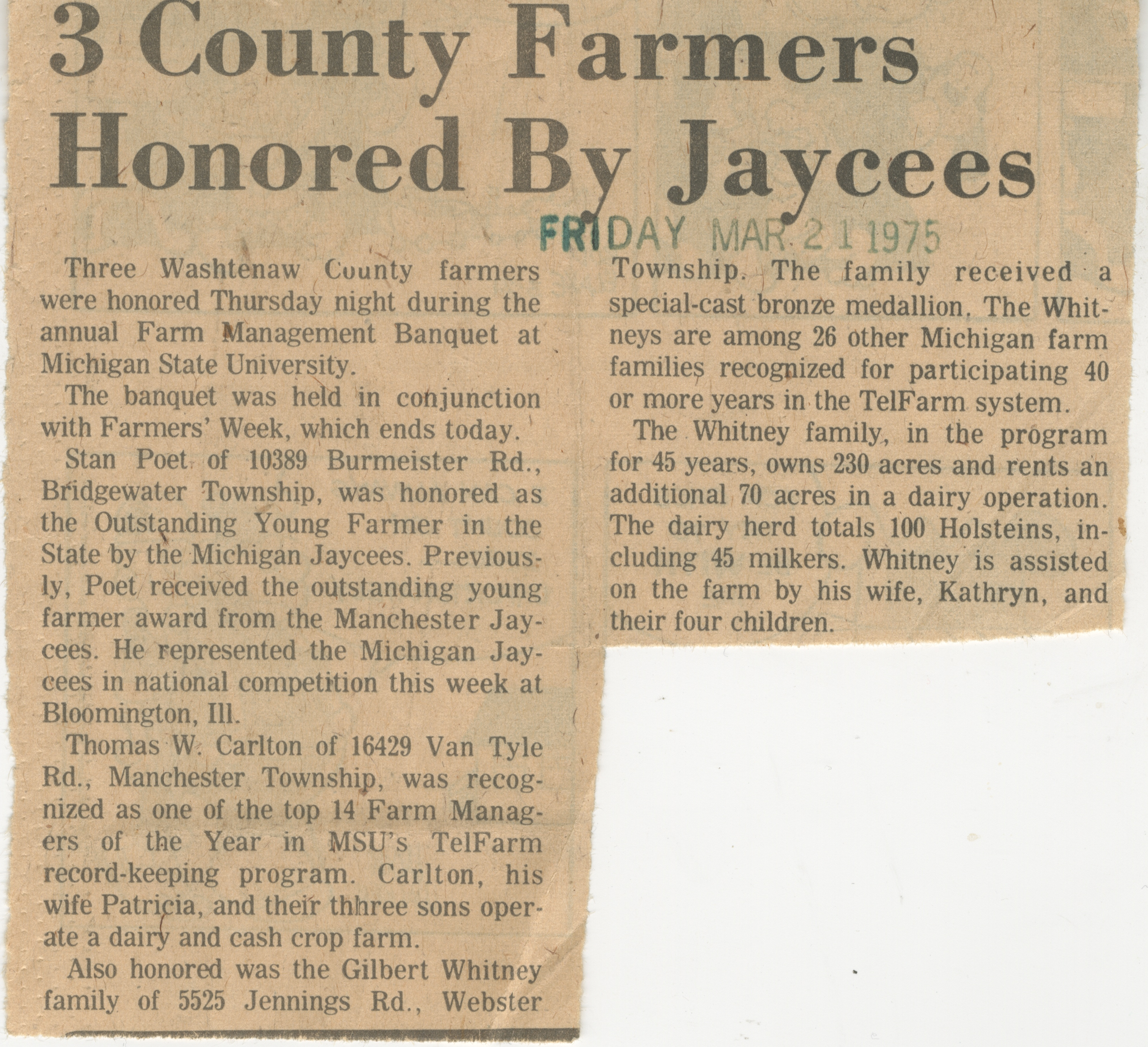 3 County Farmers Honored By Jaycees image