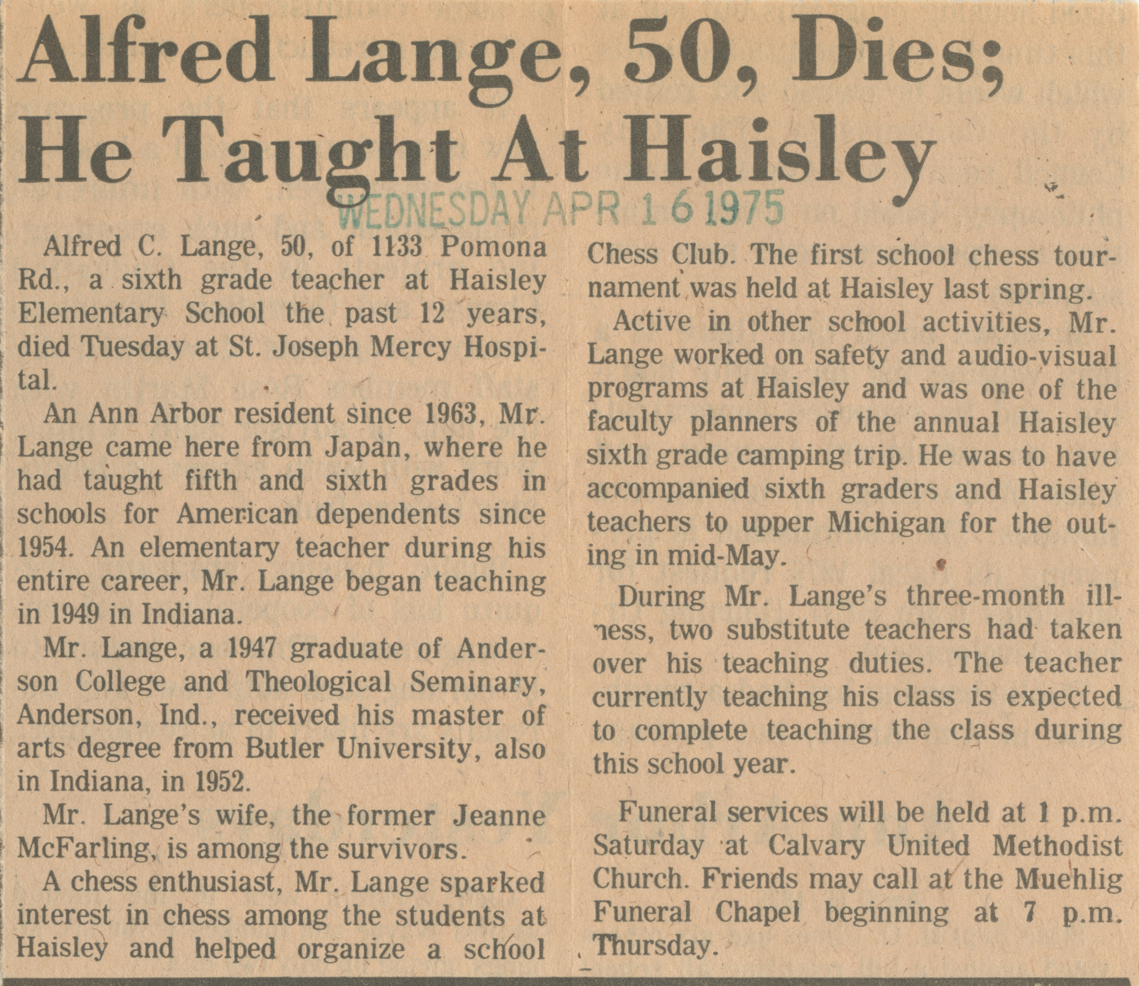 Alfred Lange, 50, Dies; He Taught At Haisley image