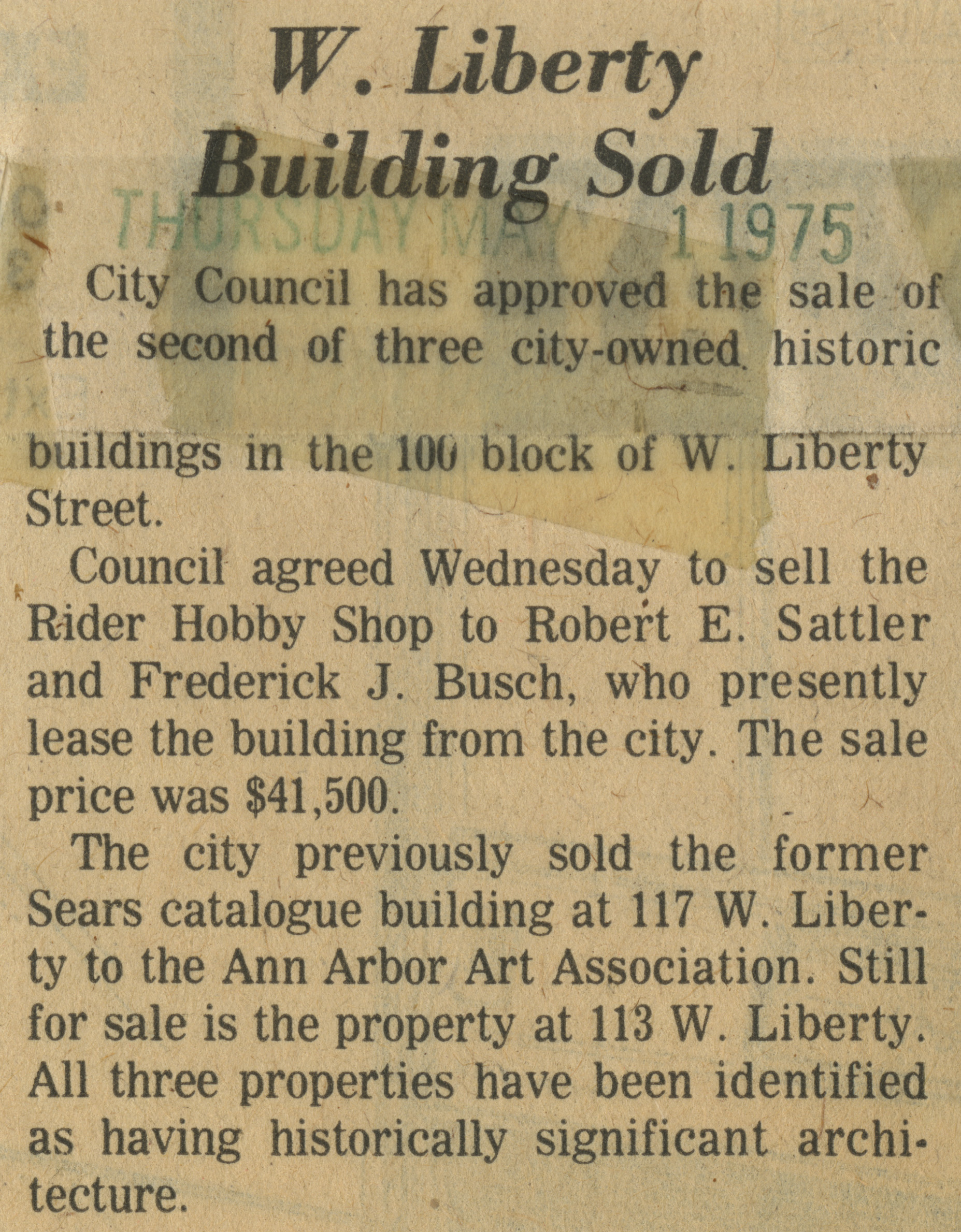 W. Liberty Building Sold image