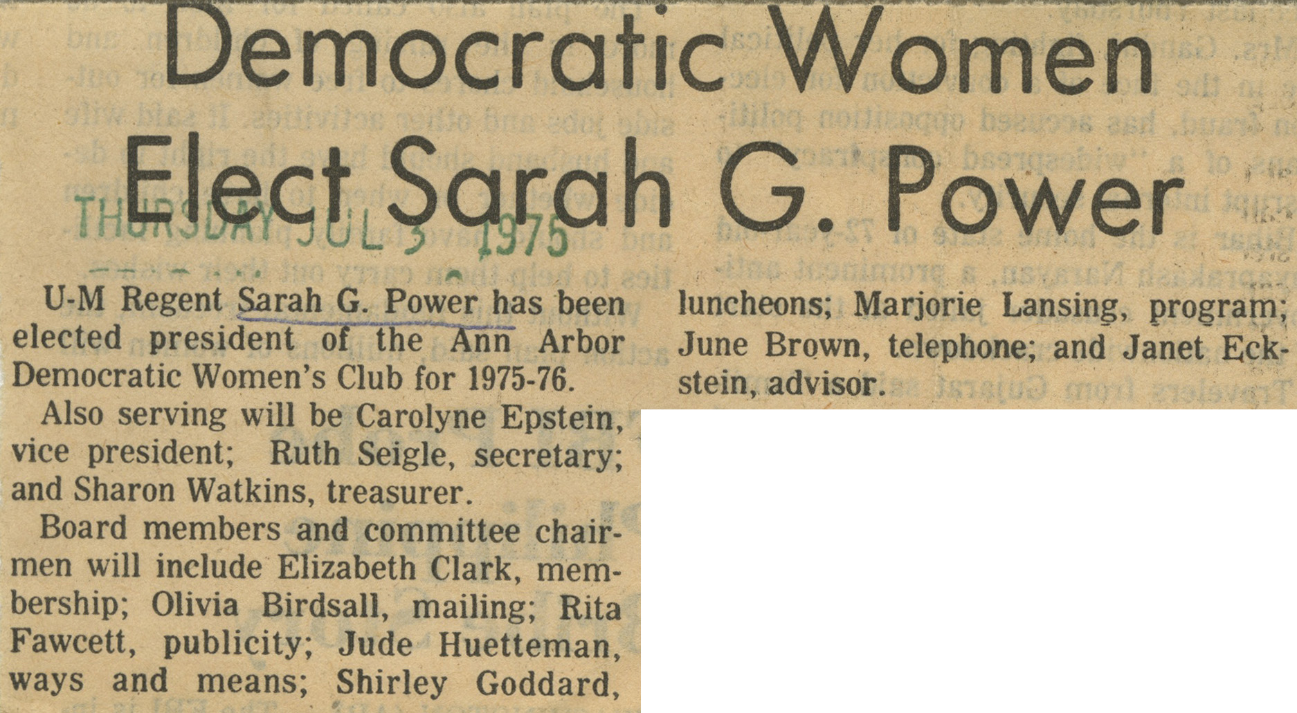 Democratic Women Elect Sarah G. Power image