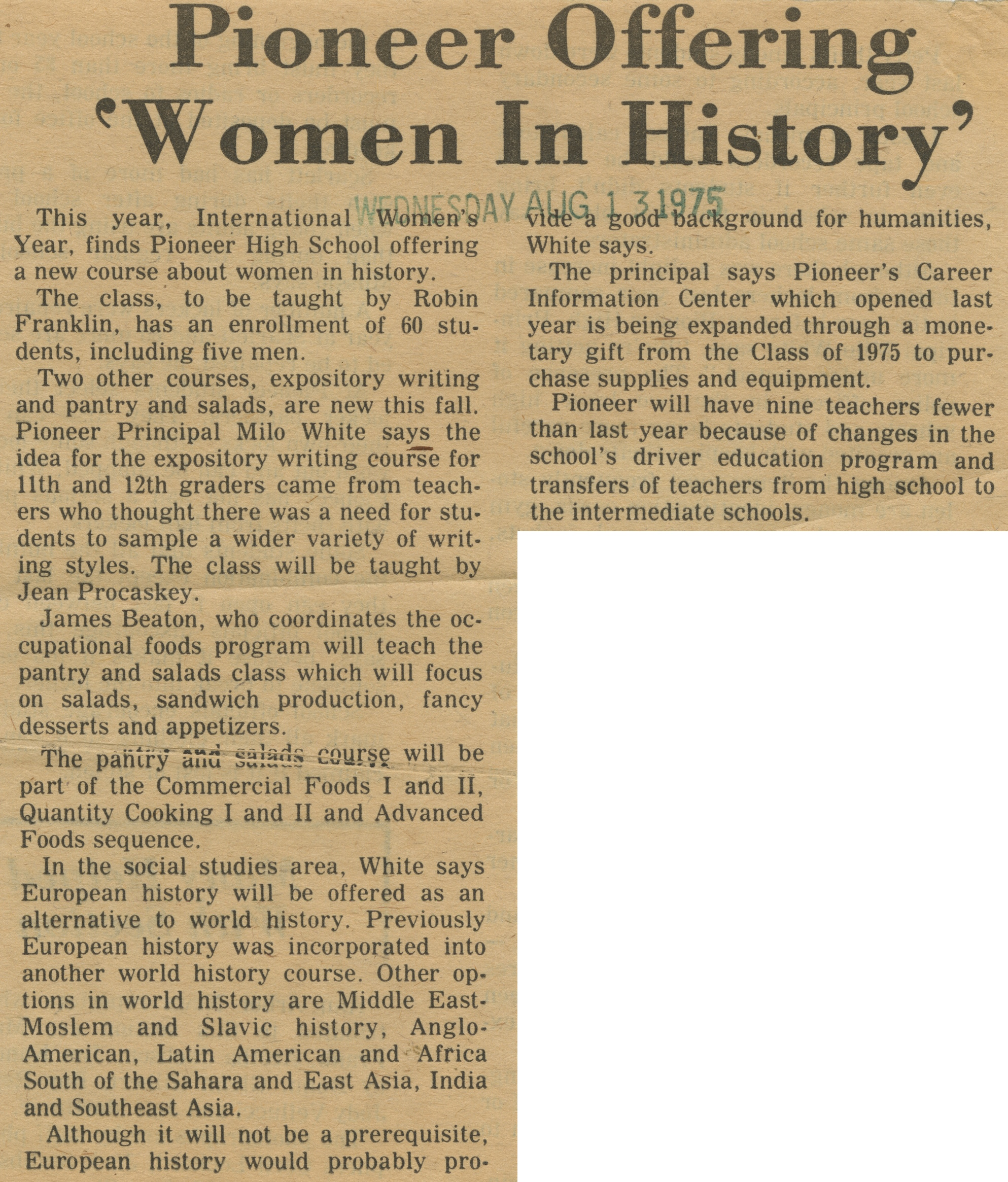 Pioneer Offering 'Women In History' image