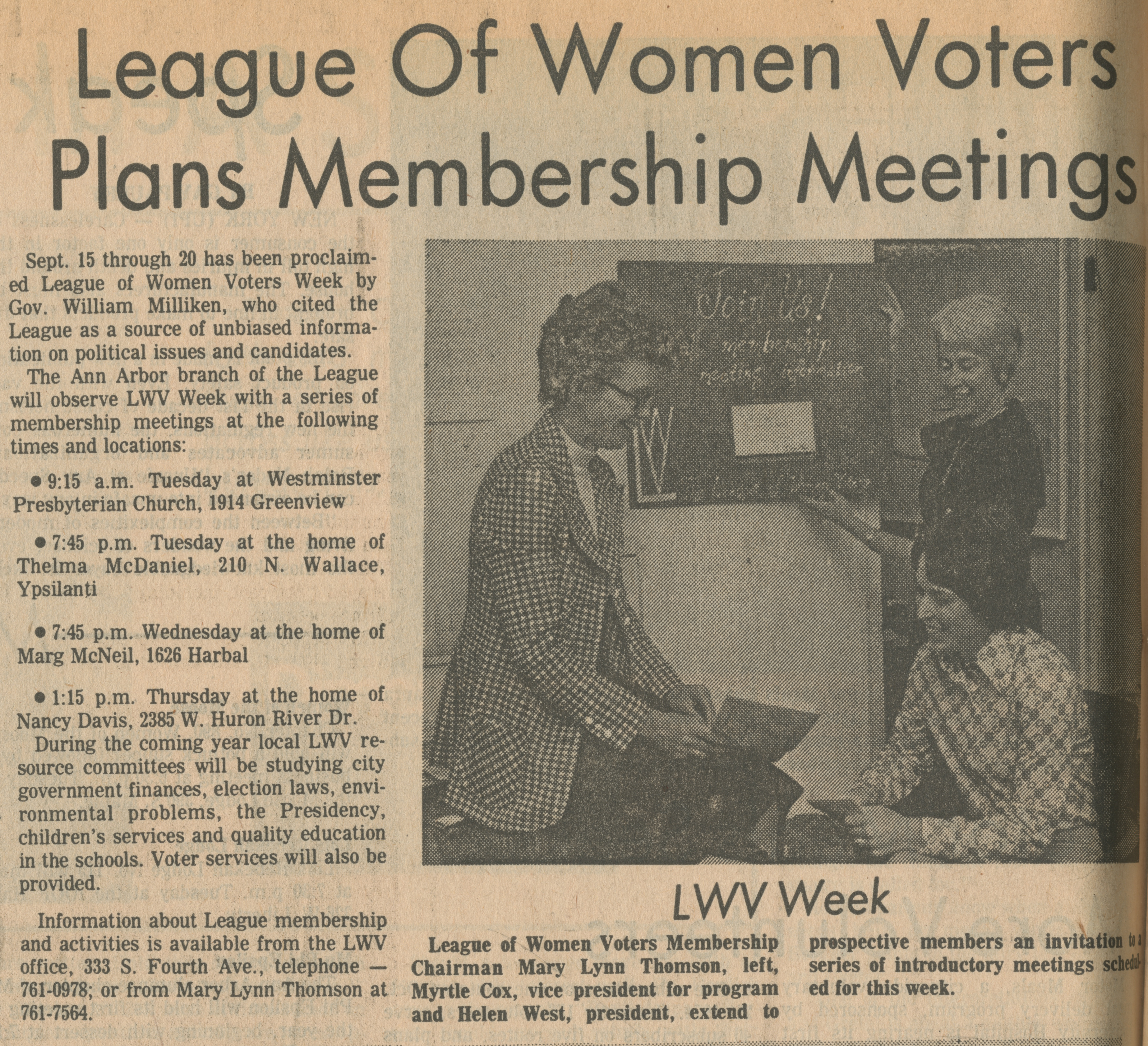 League Of Women Voters Plans Membership Meetings image