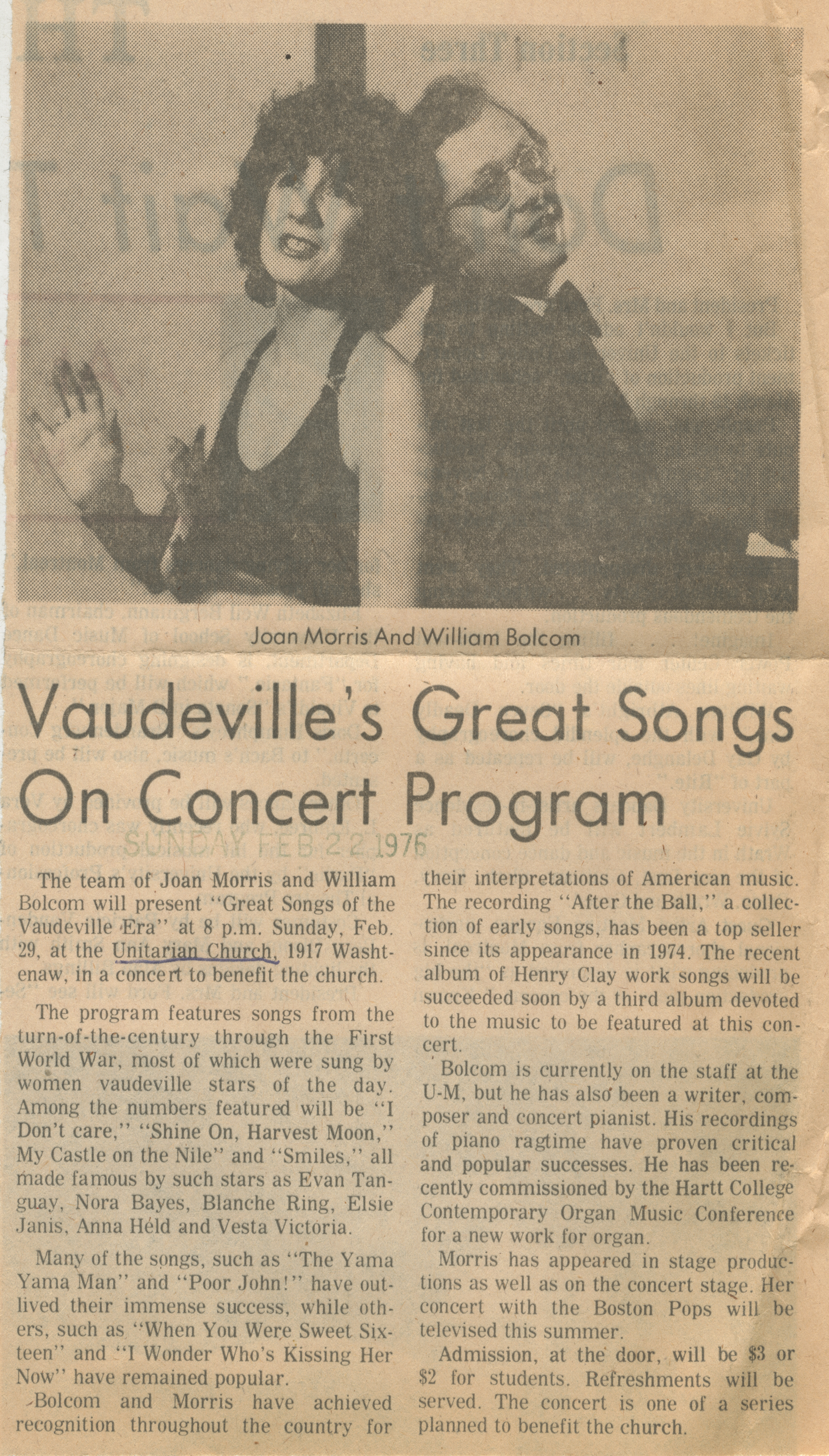 Vaudeville's Great Songs On Concert Program image