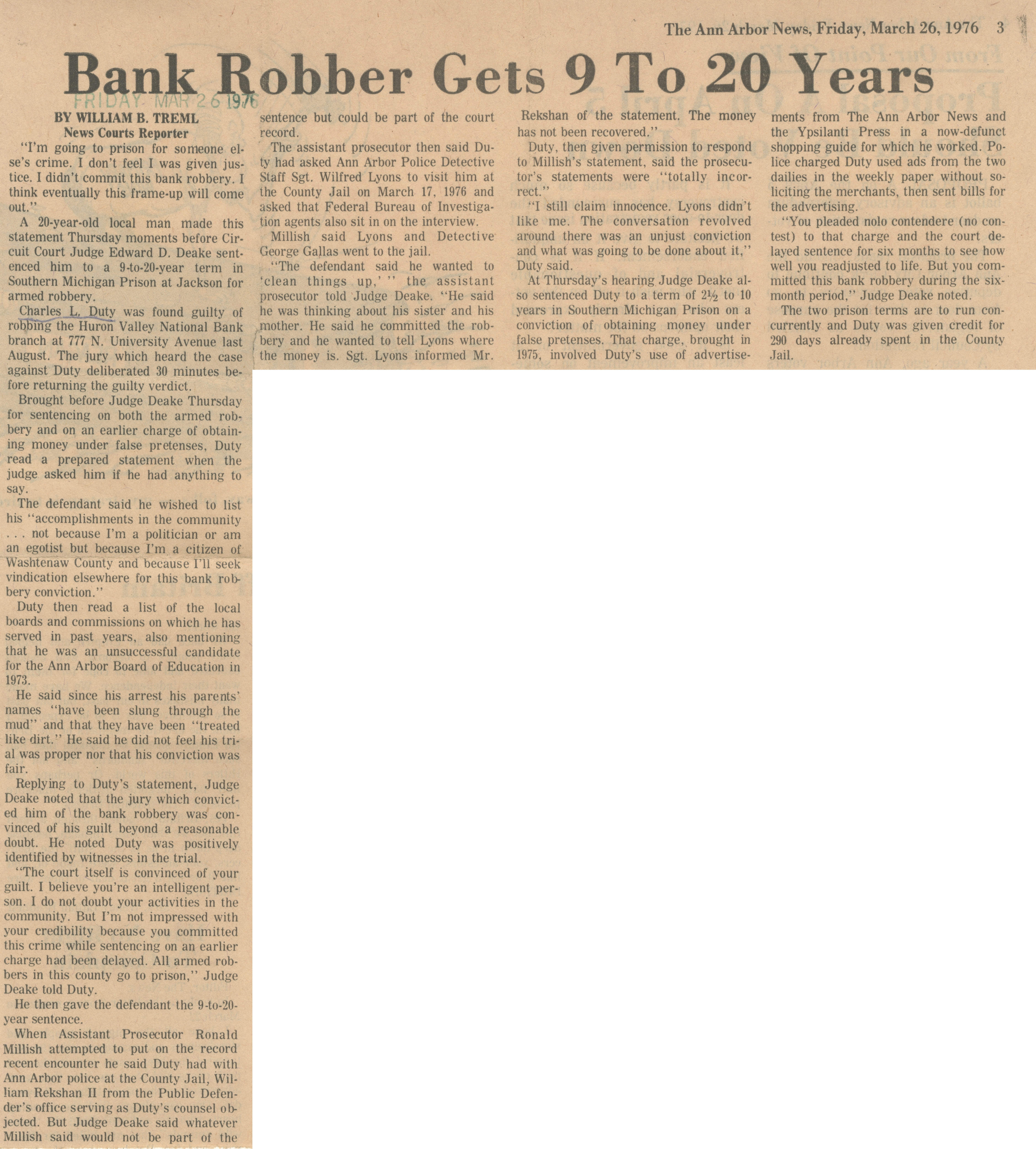 Bank Robber Gets 9 To 20 Years image