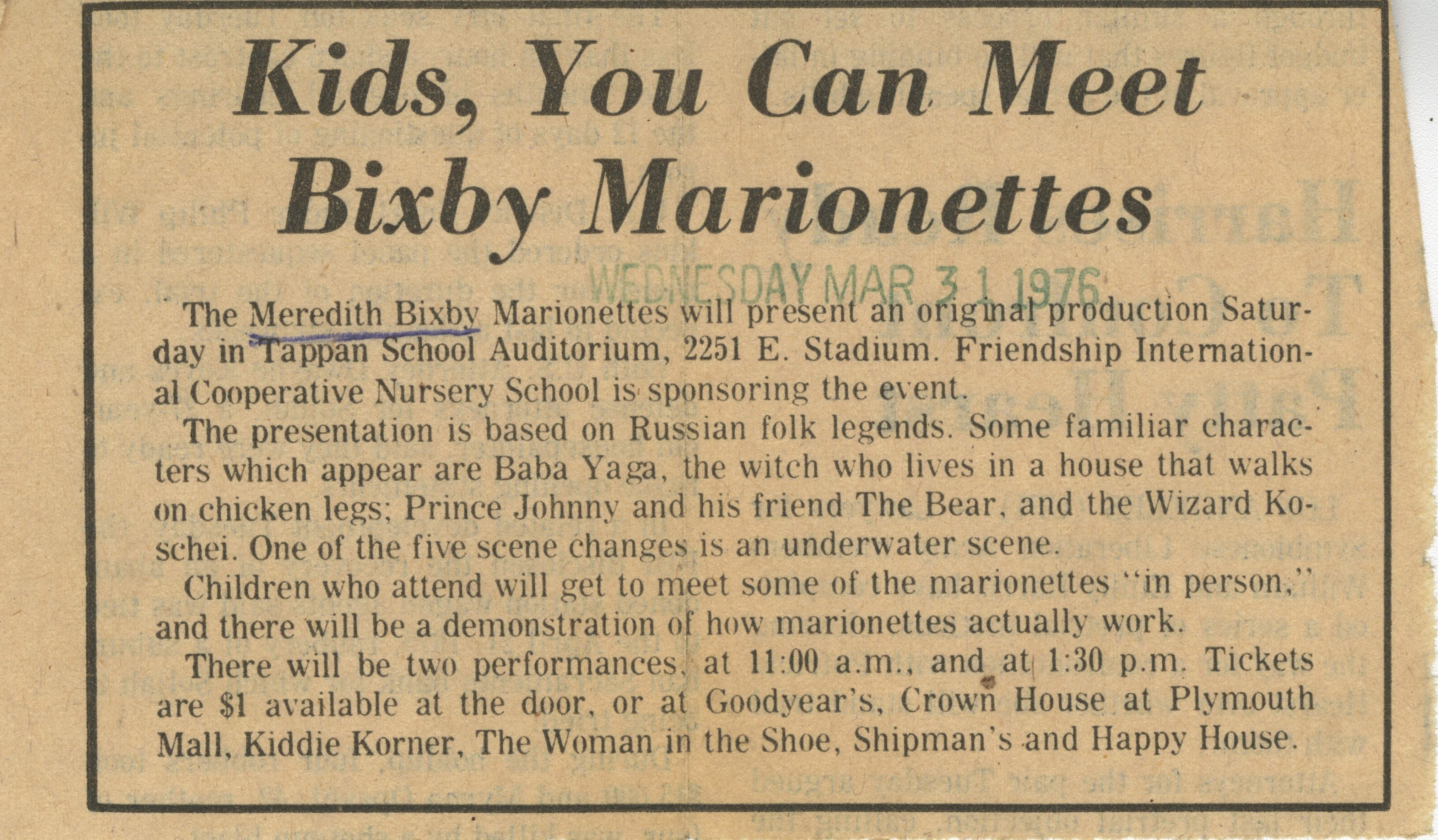 Kids, You Can Meet Bixby Marionettes image