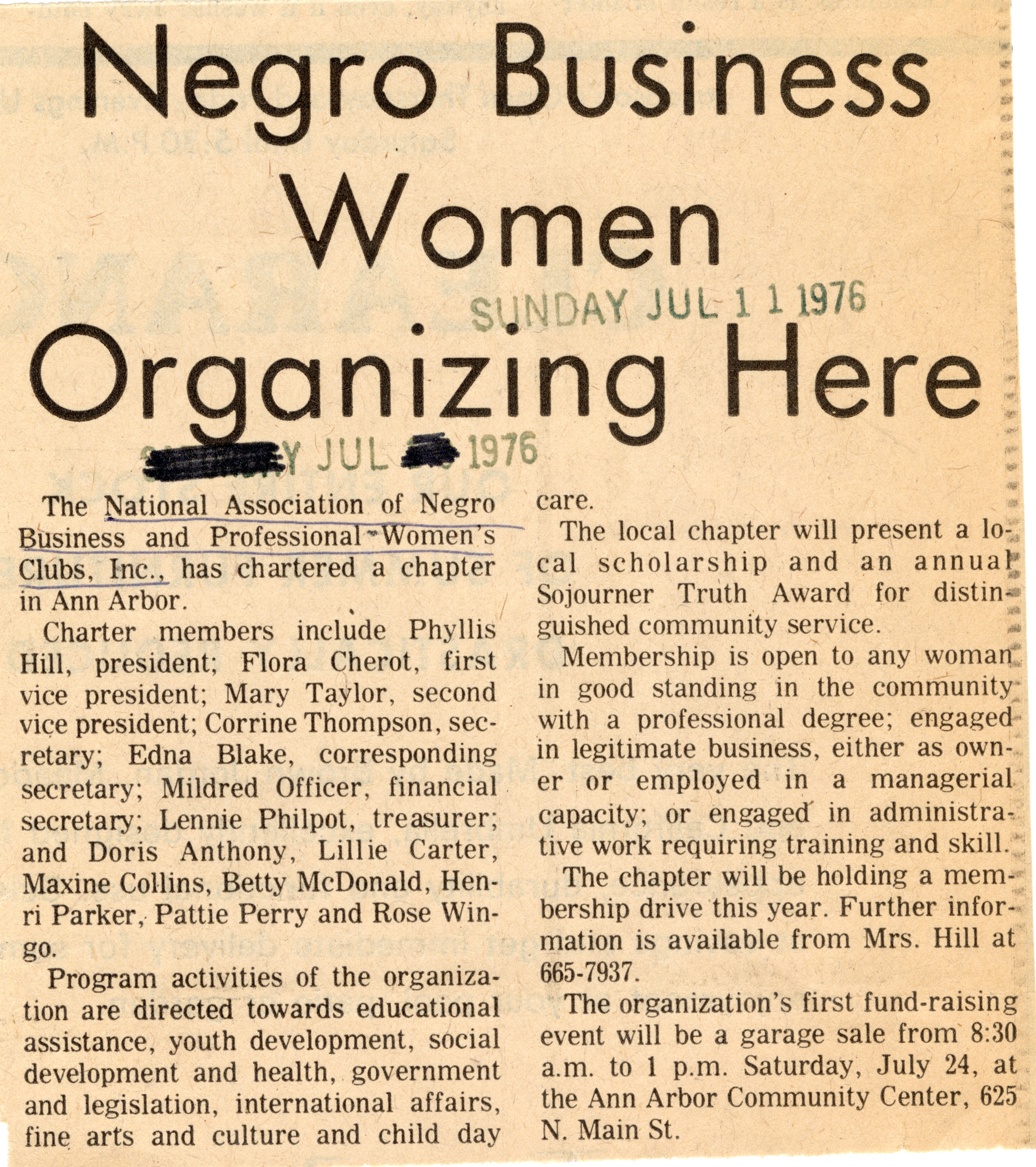 Negro Business Women Organizing Here image