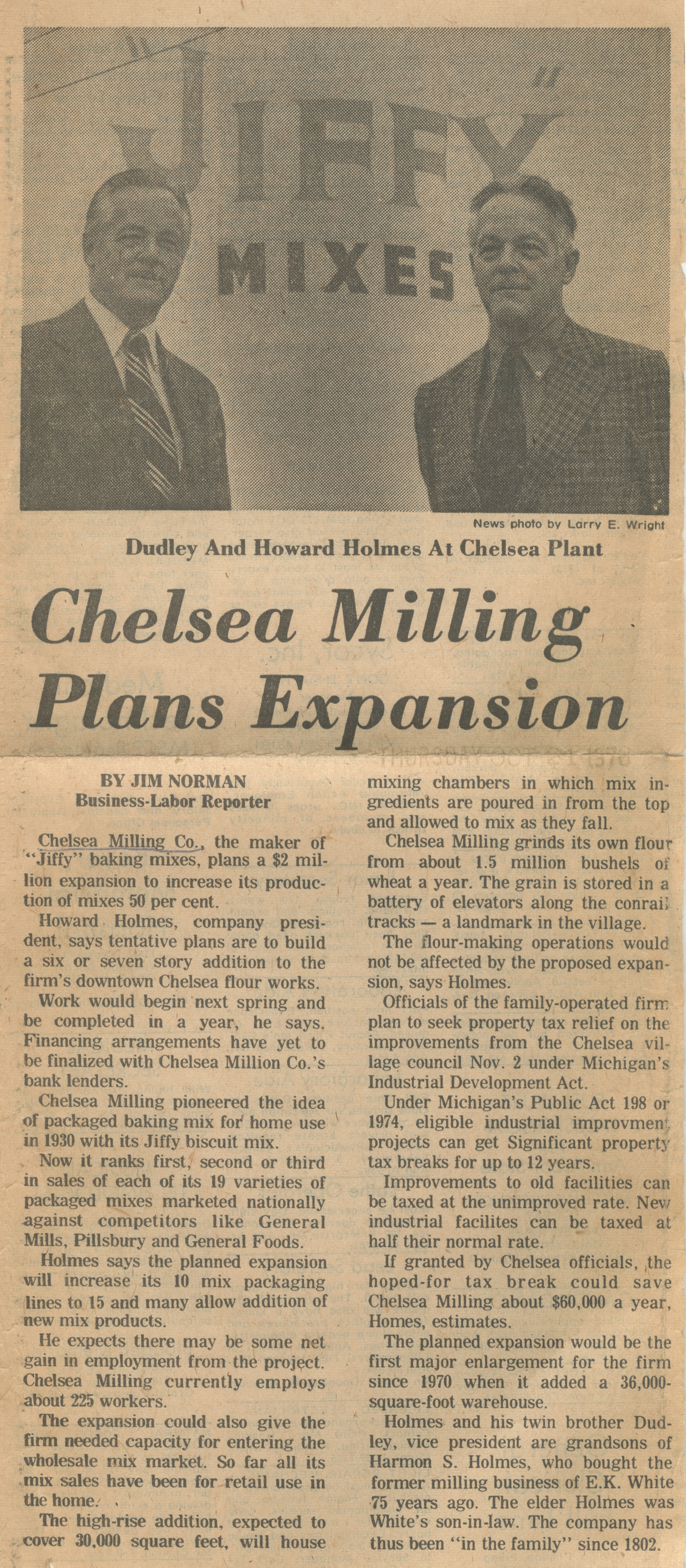 Chelsea Milling Plans Expansion image