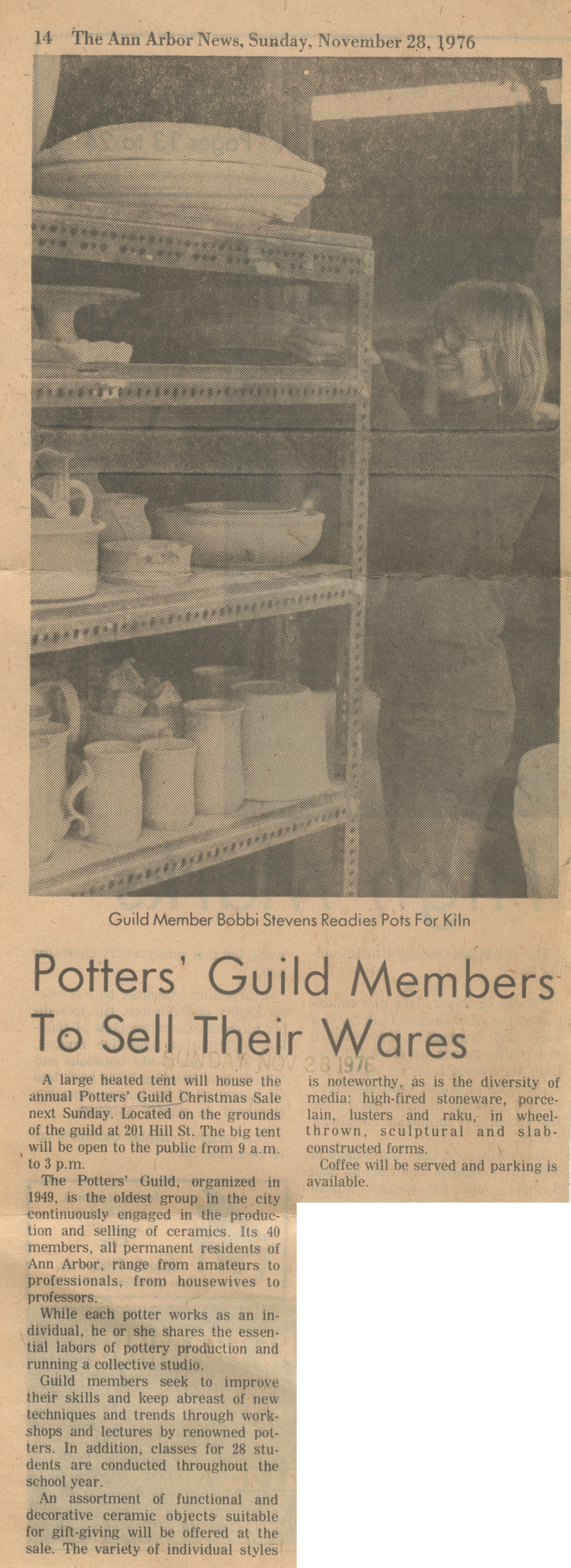 Potters' Guild Members To Sell Their Wares image