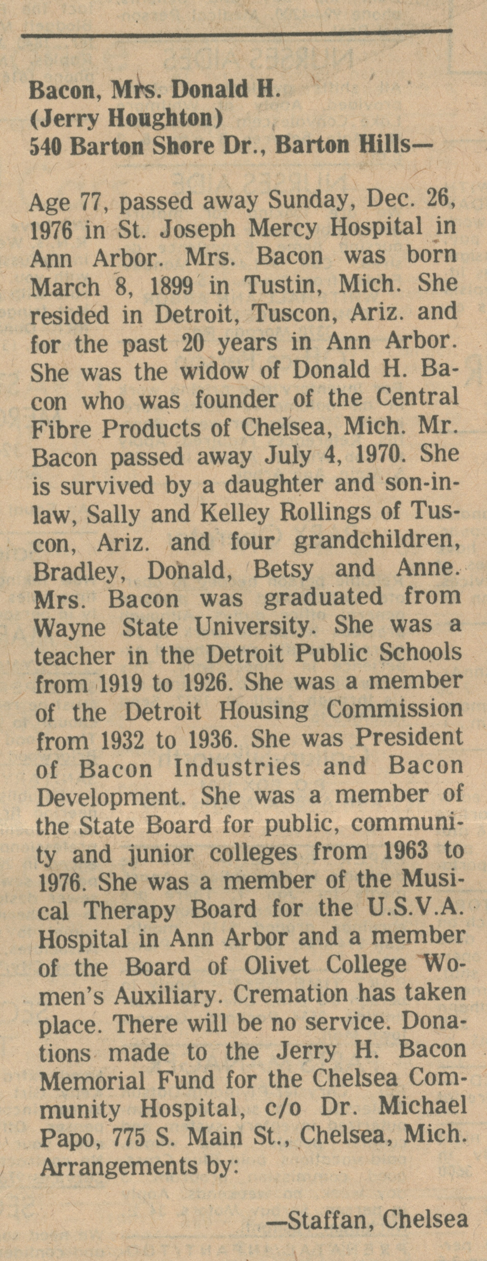 Bacon, Mrs. Donald. H. (Jerry Houghton) image