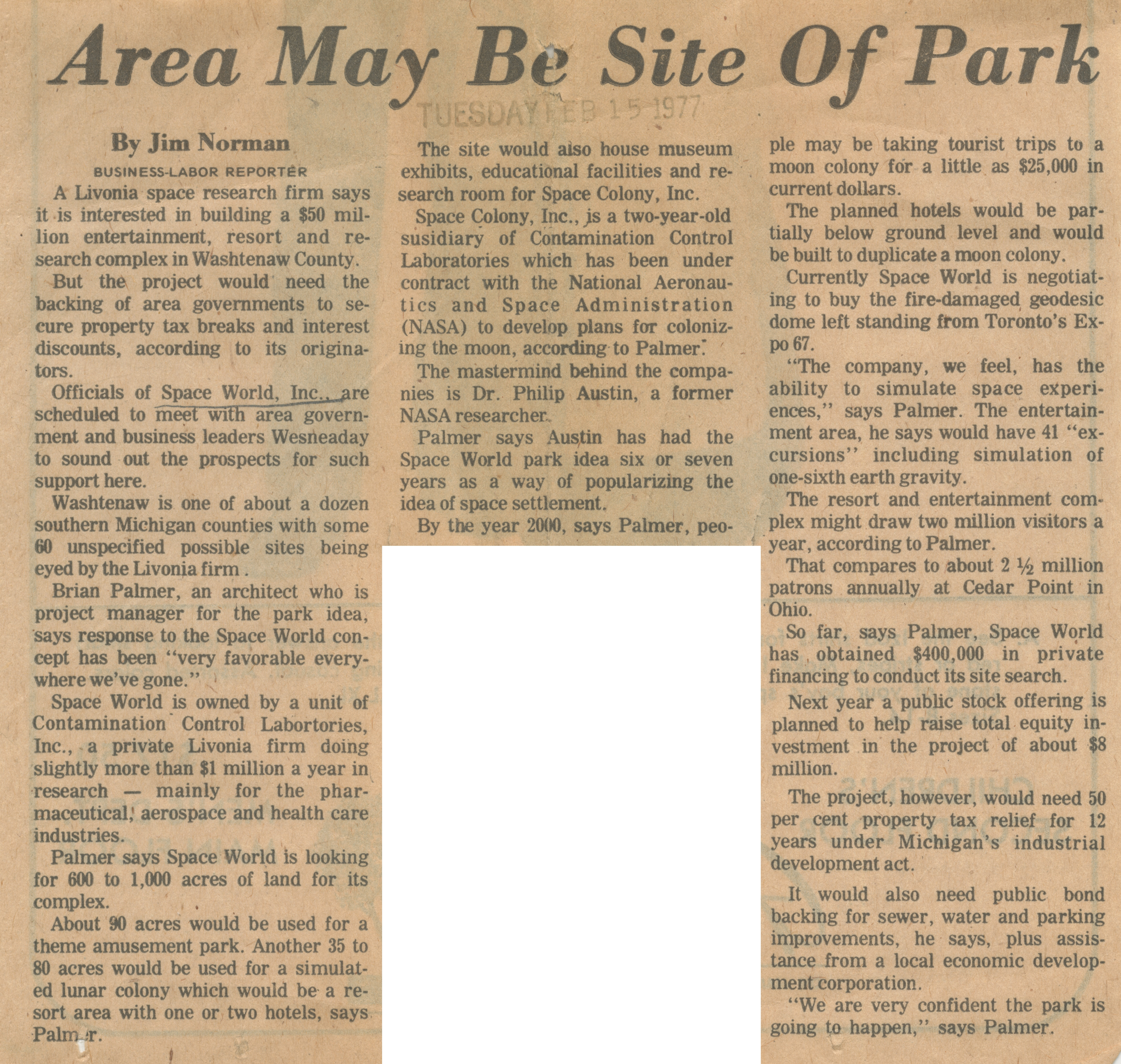 Area May Be Site Of Park image