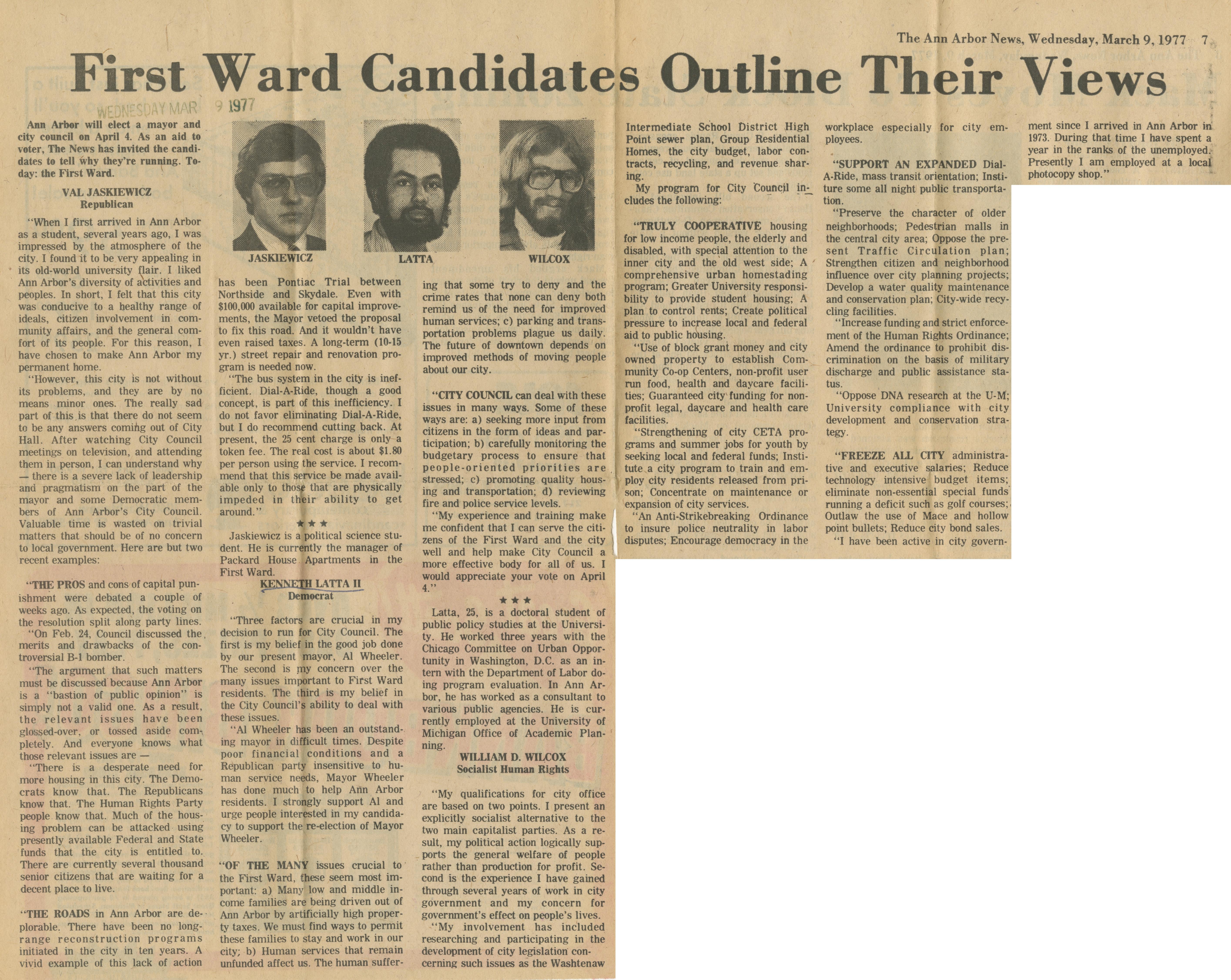 First Ward Candidates Outline Their Views   Ann Arbor