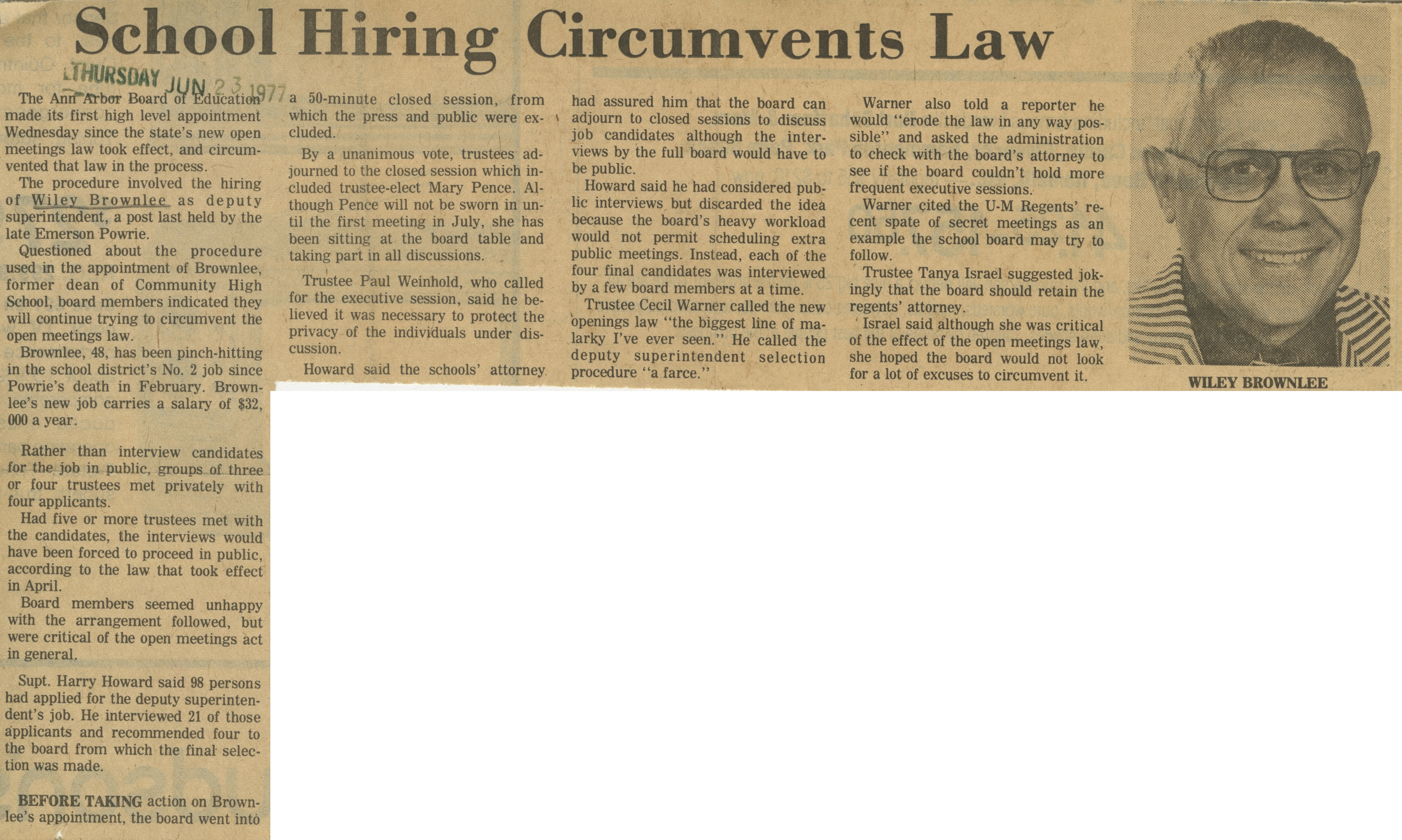 School Hiring Circumvents Law image