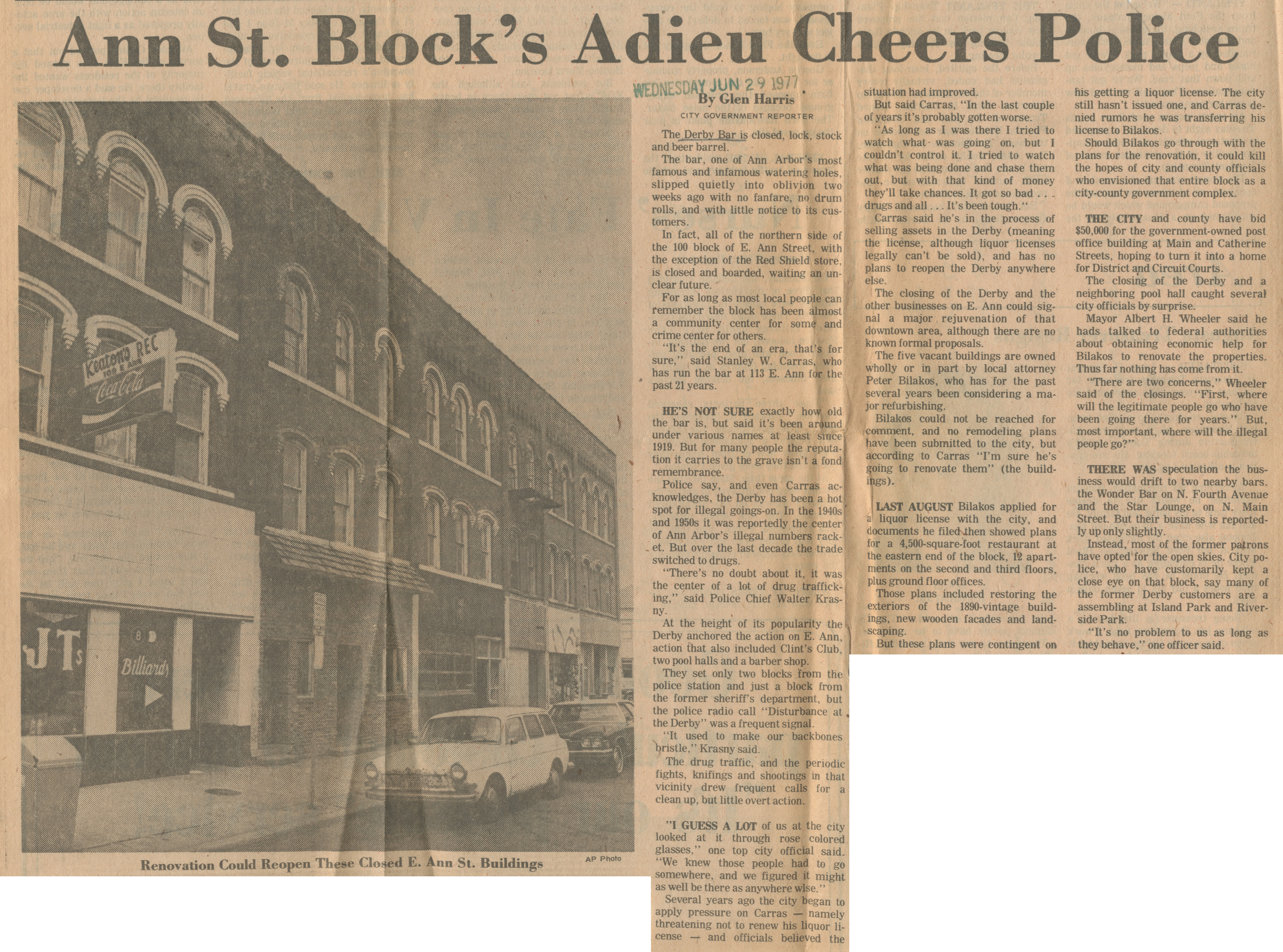 Ann St. Block's Adieu Cheers Police image