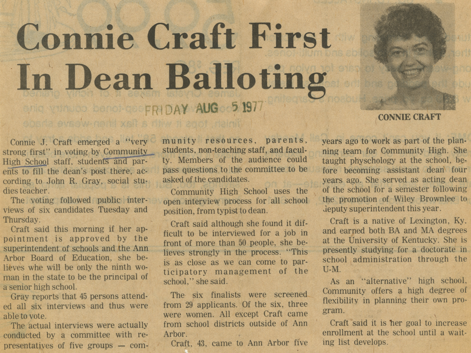 Connie Craft First In Dean Ballotting image