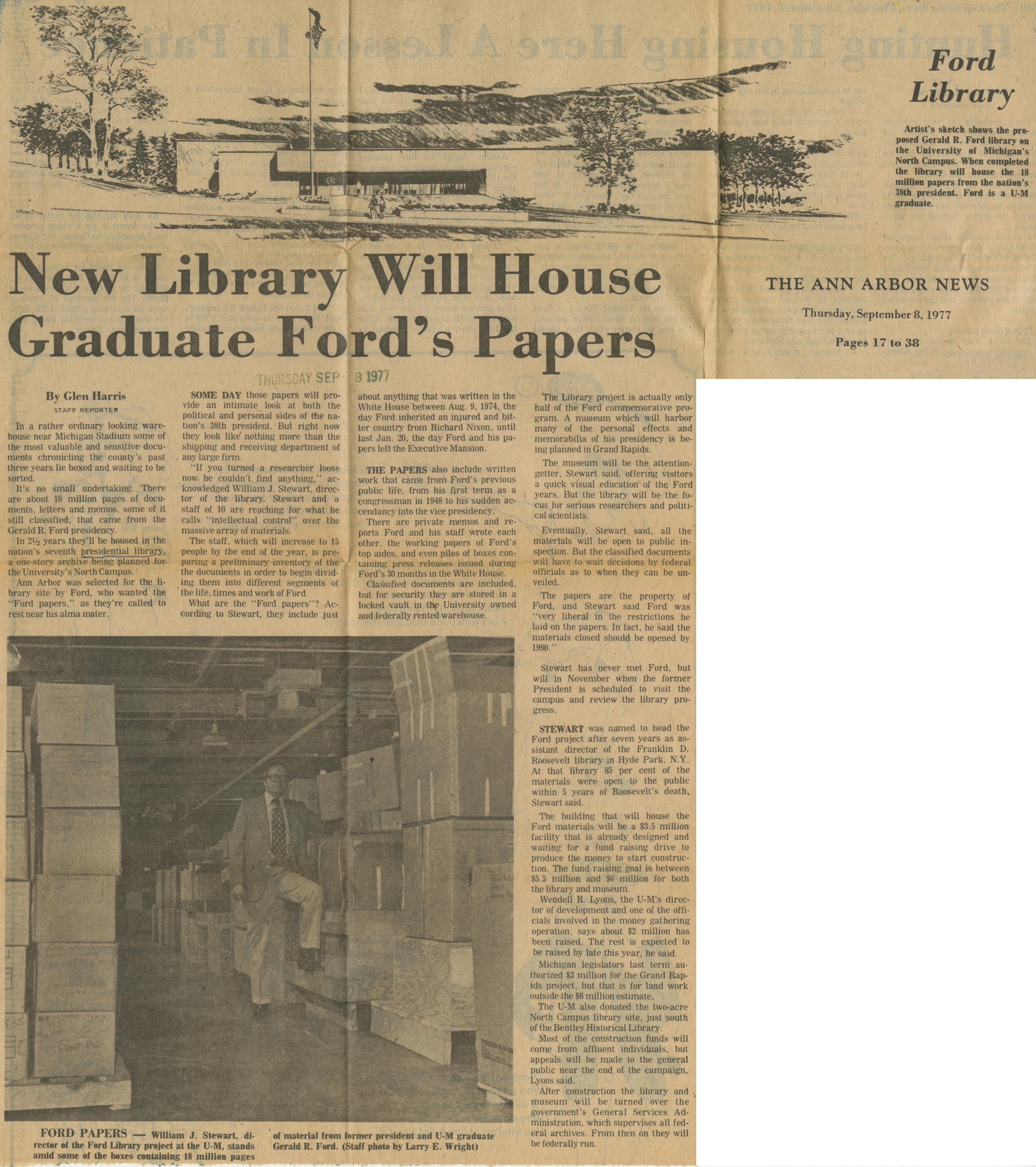 New Library Will House Graduate Ford's Papers image