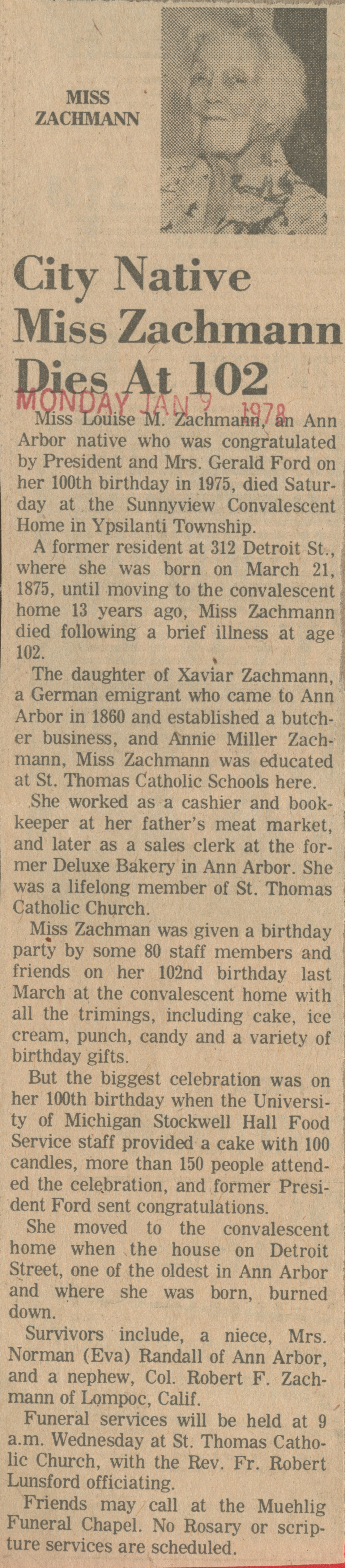 City Native Miss Zachmann Dies At 102 image