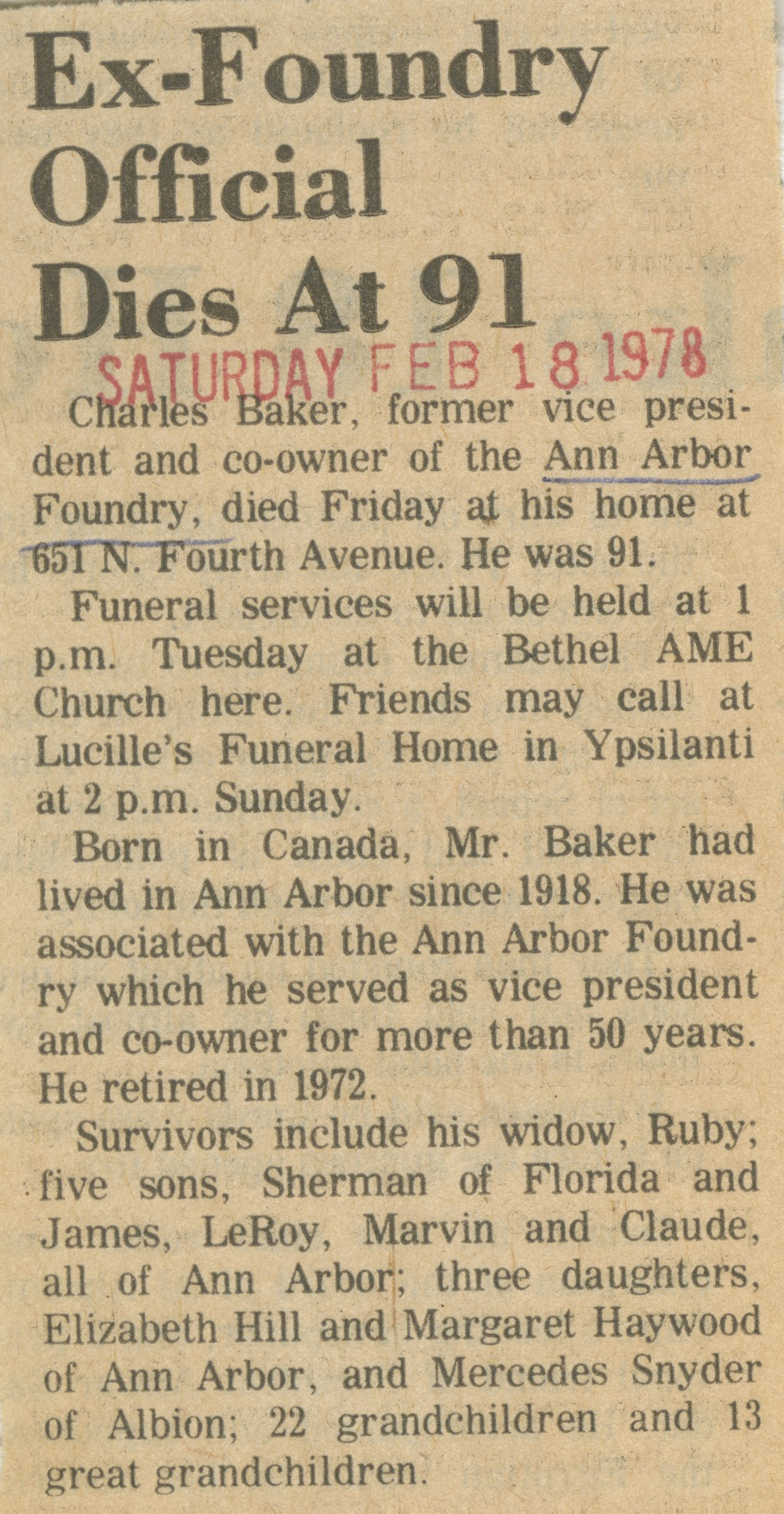 Ex-Foundry Official Dies At 91 image