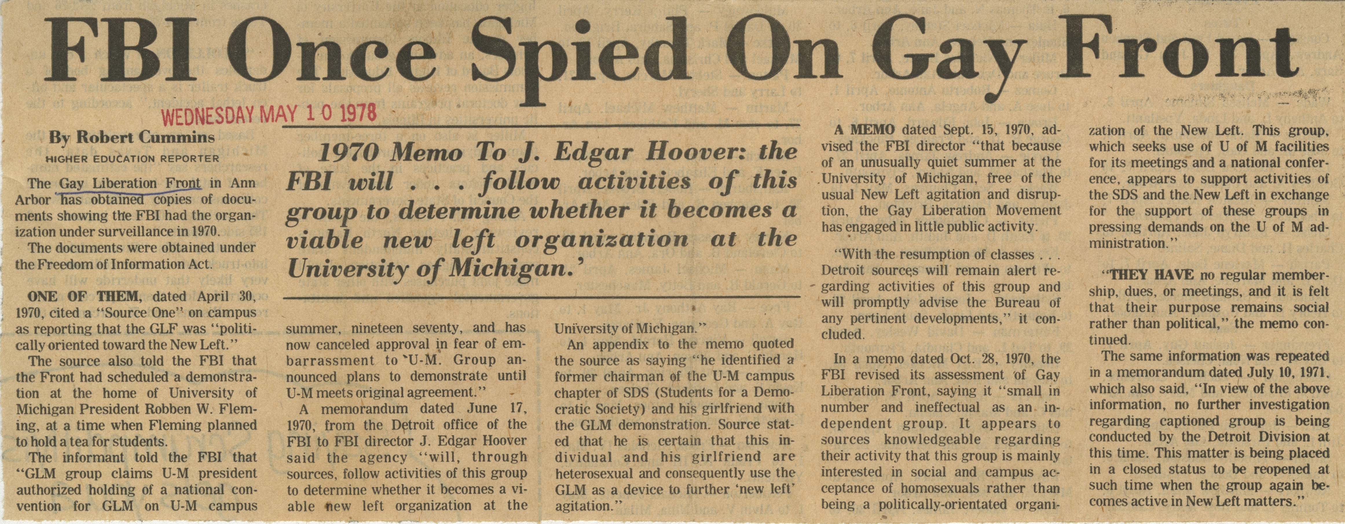 FBI Once Spied On Gay Front image