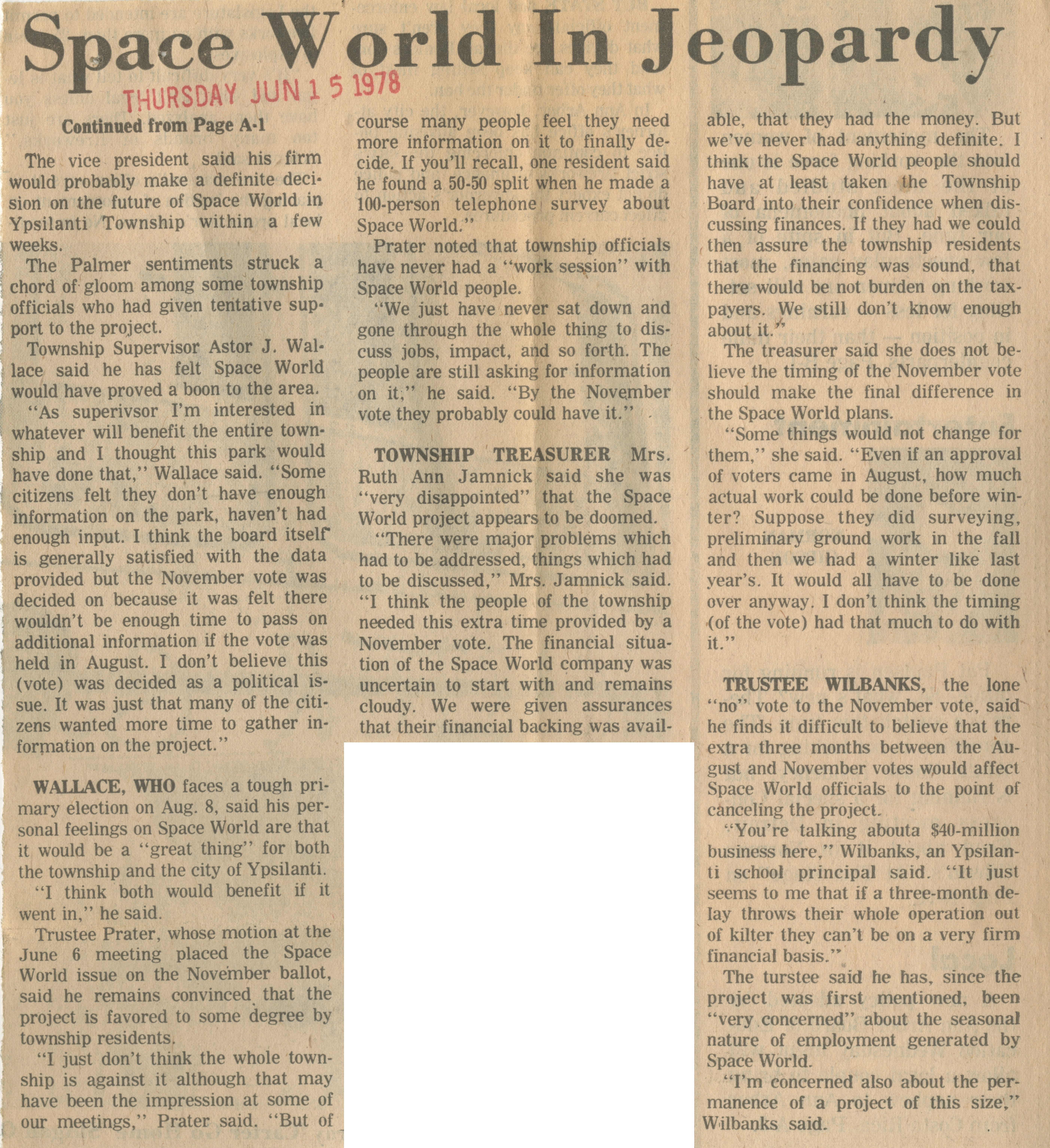 Space World May Quit Township image