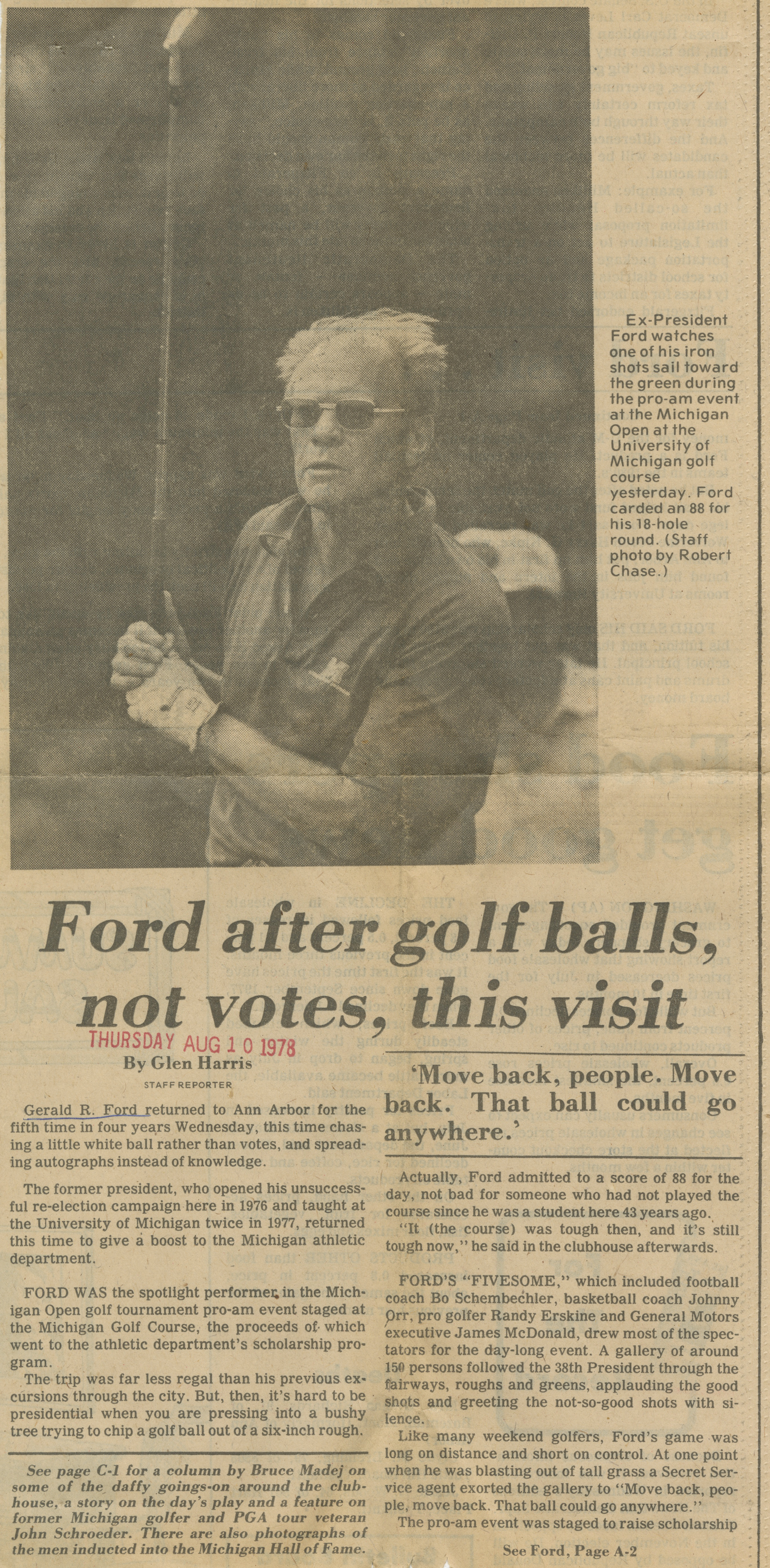 Ford After Golf Balls, Not Votes, This Visit image