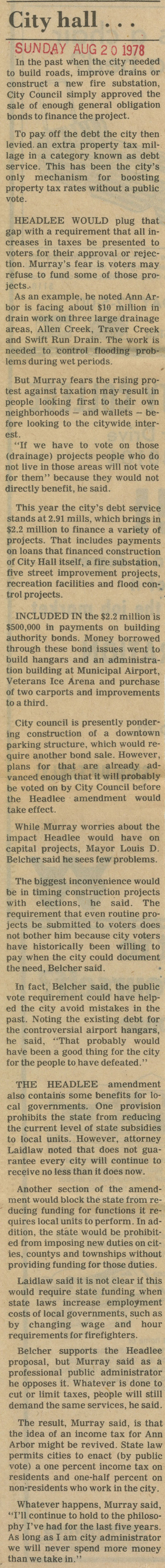 Headlee? Not Worried - City Hall | Ann Arbor District Library