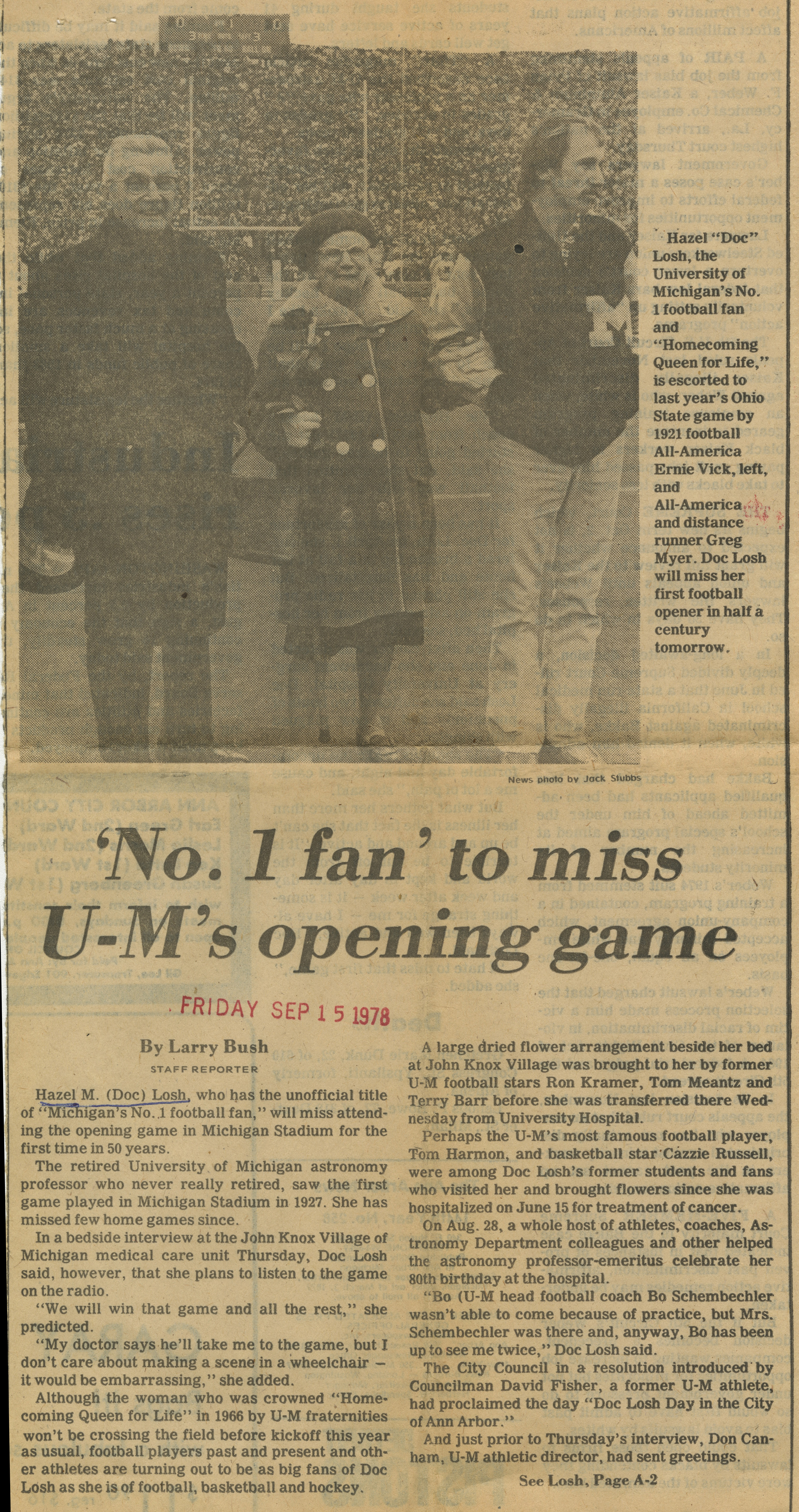 'No. 1 fan' to miss U-M's opening game image