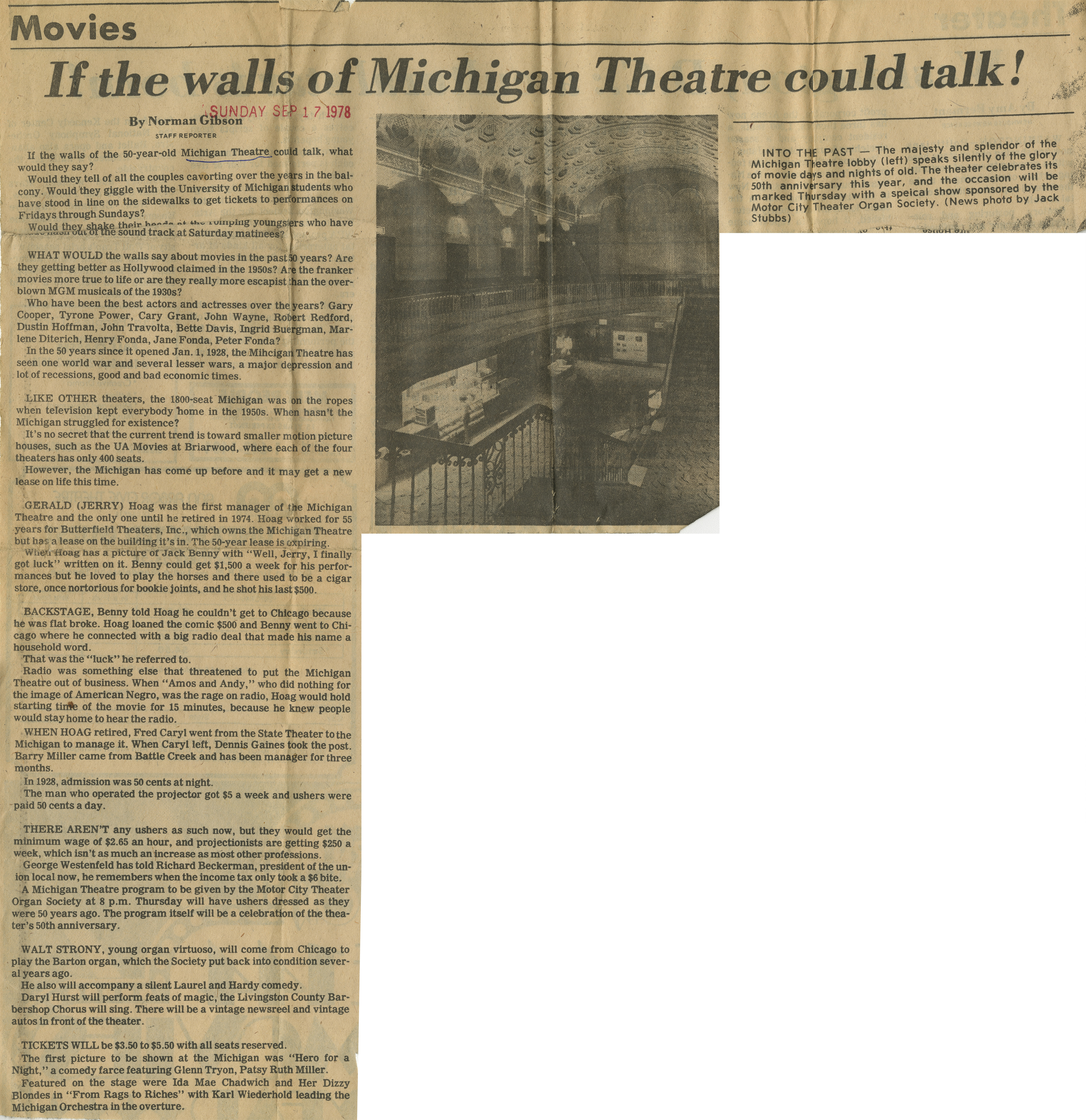 If the walls of the Michigan Theatre could talk! image