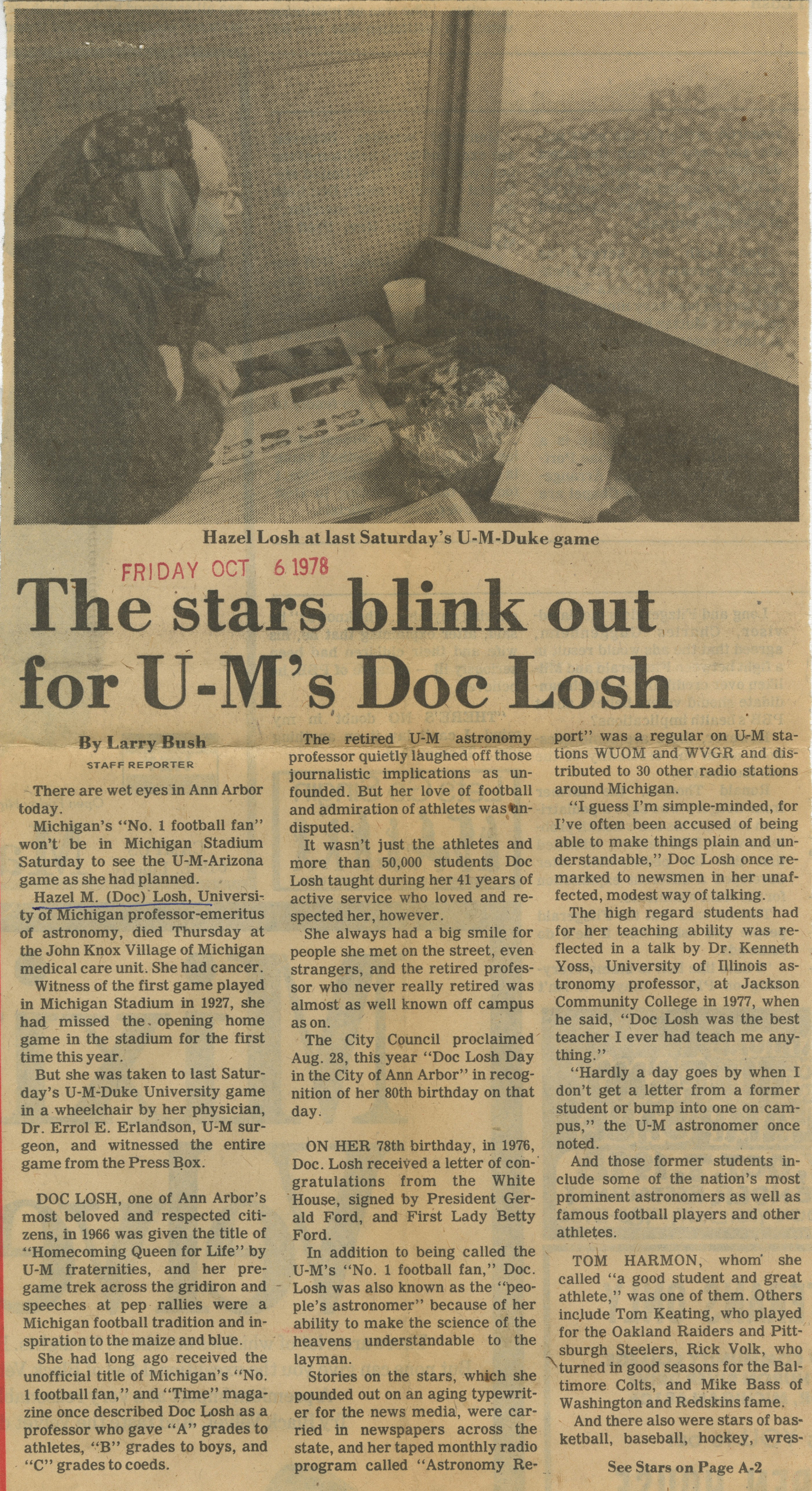 The stars blink out for U-M's Doc Losh image