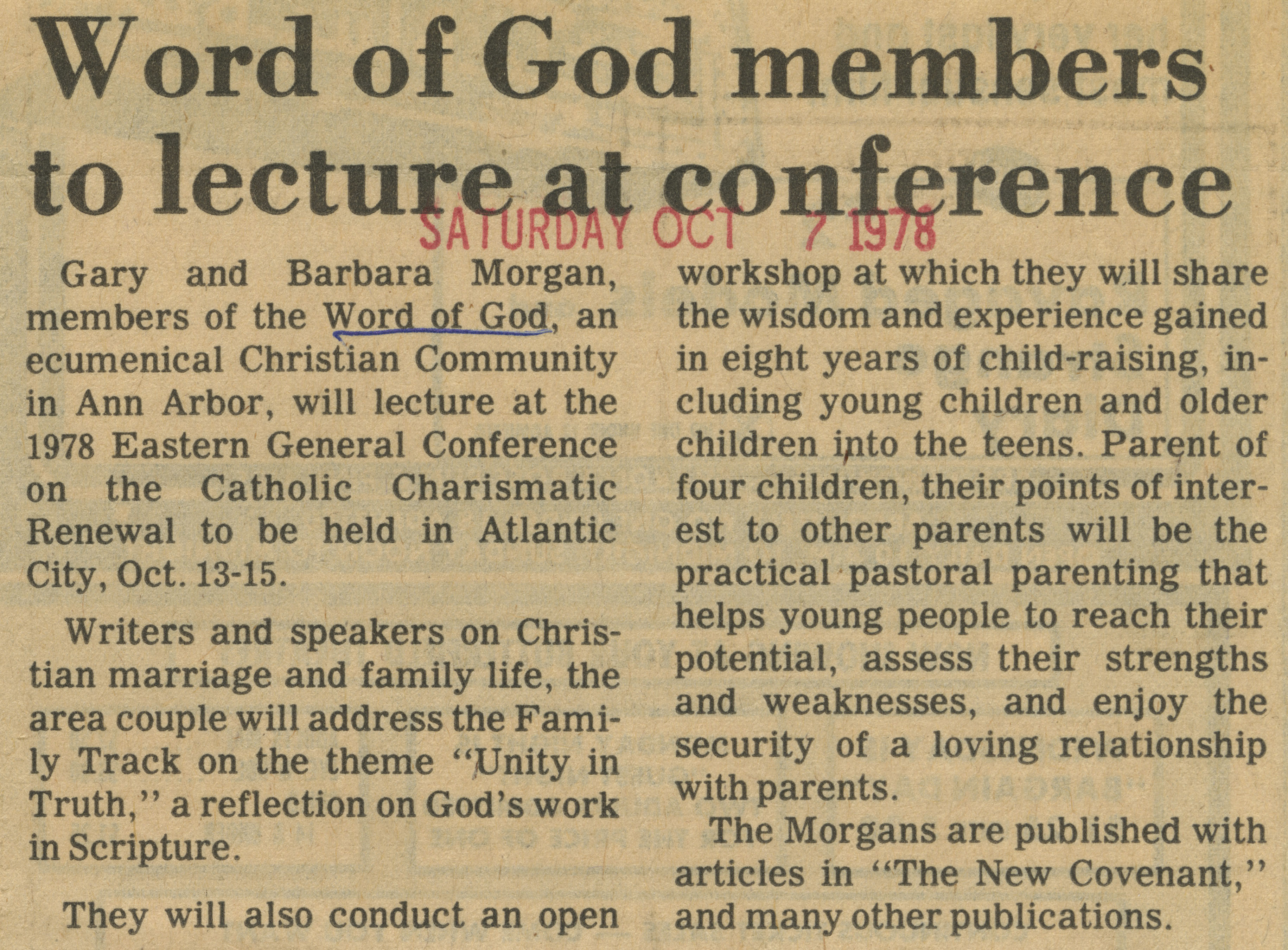 Word Of God Members To Lecture At Conference image