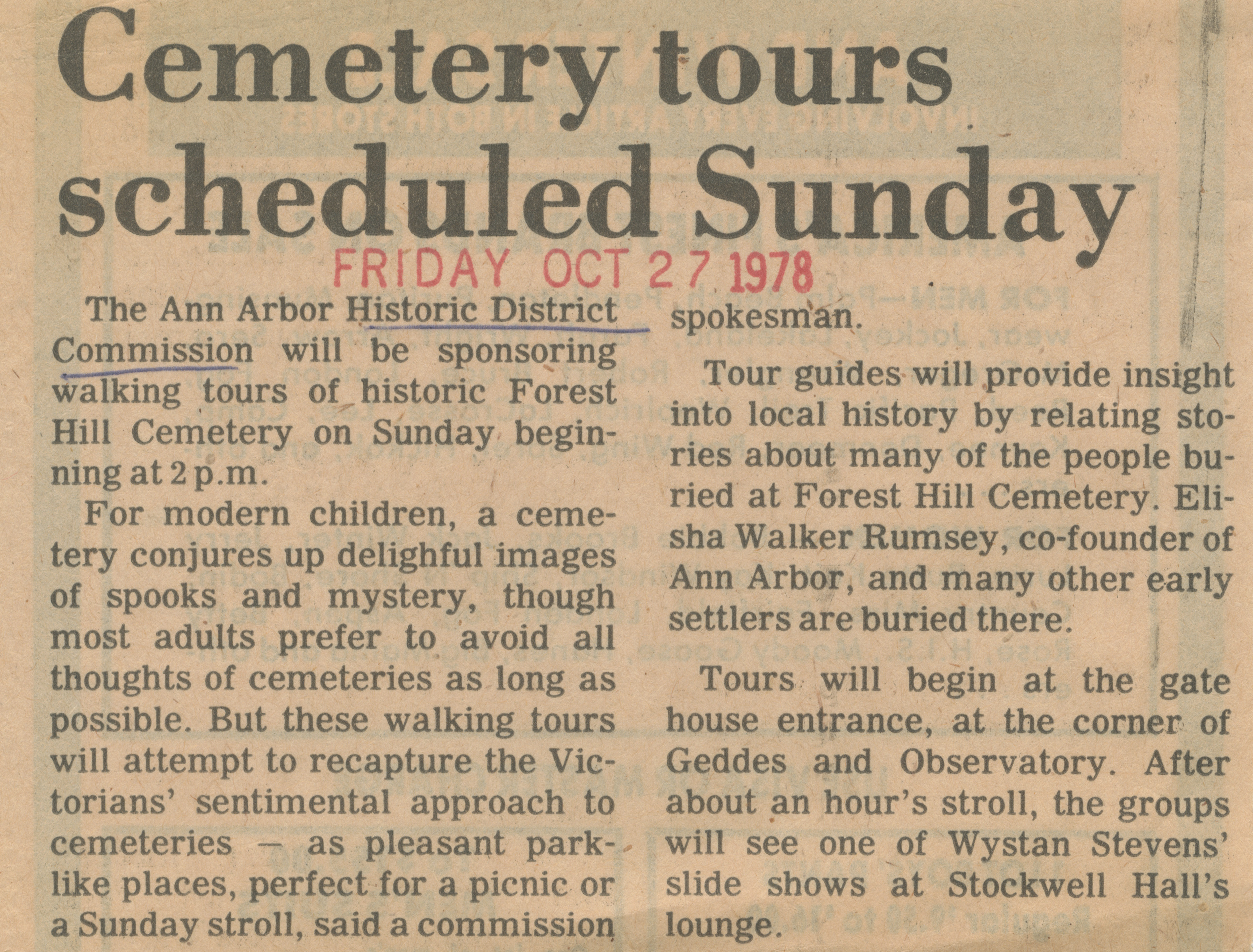 Cemetery tours scheduled Sunday image