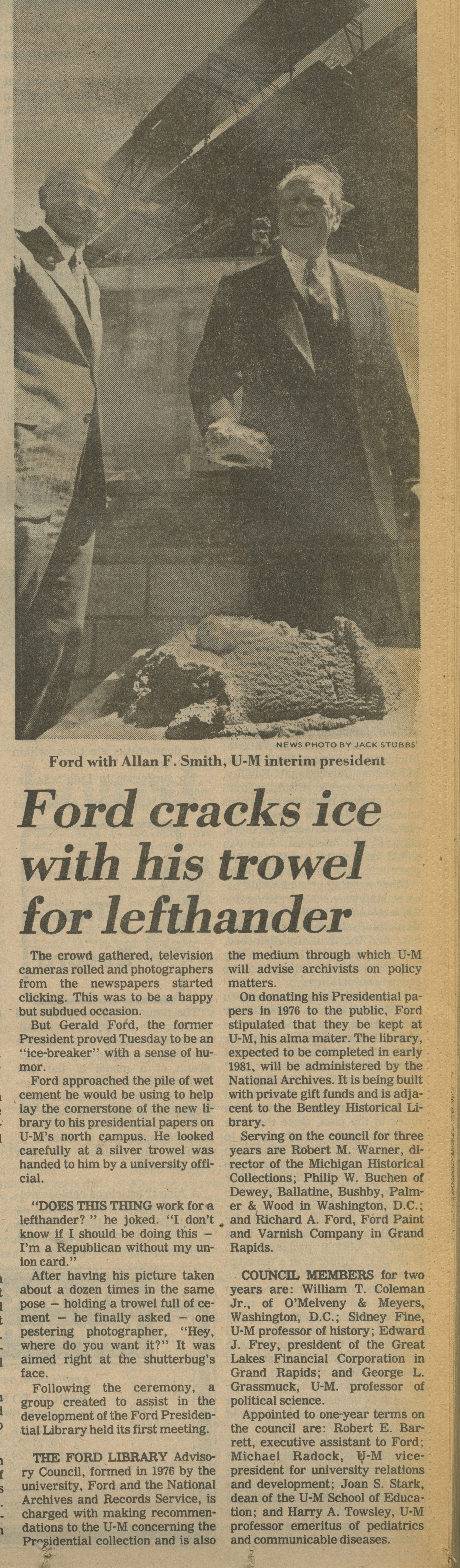 Ford Cracks Ice With His Trowel For Lefthander image