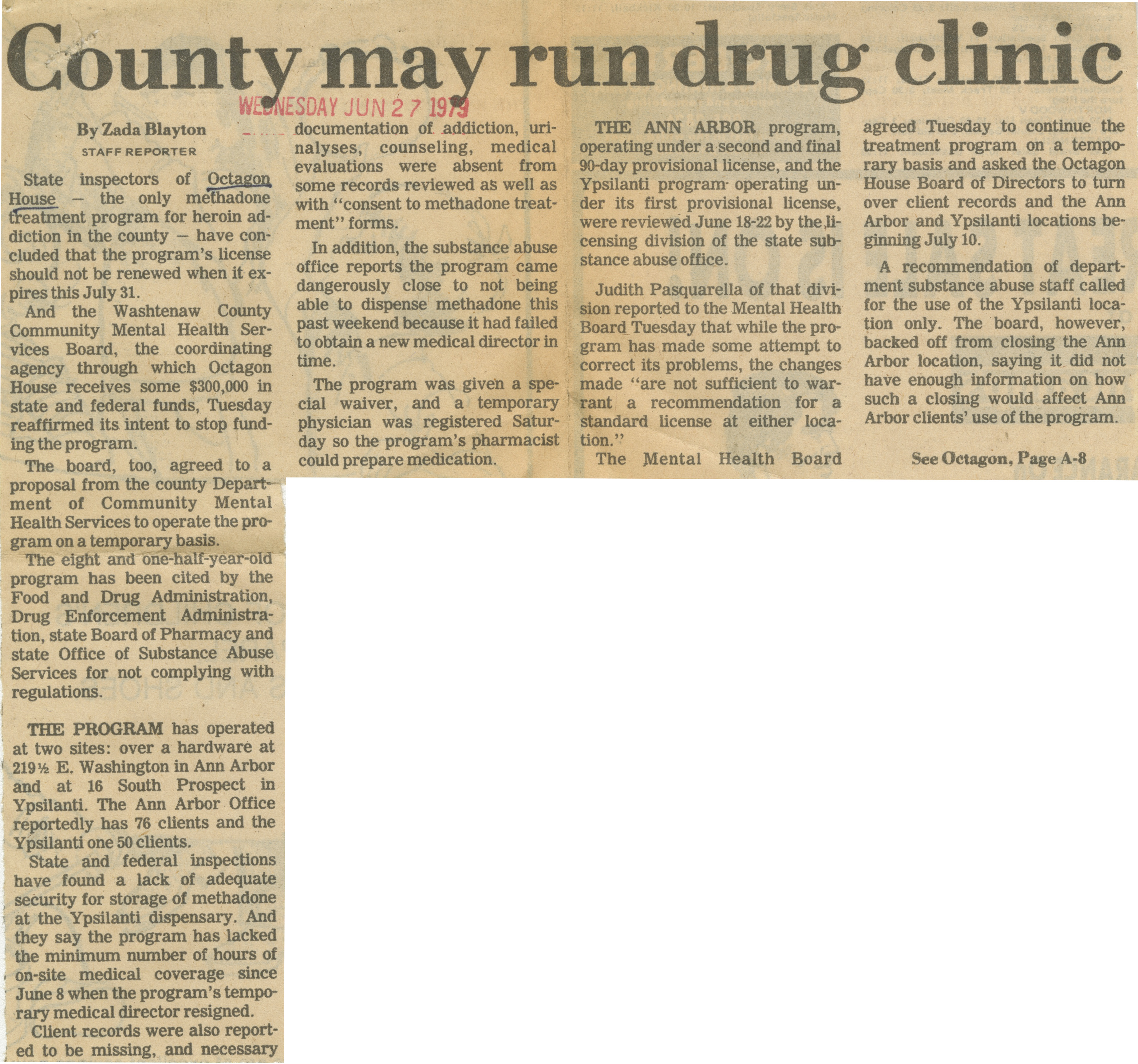 County may run drug clinic image