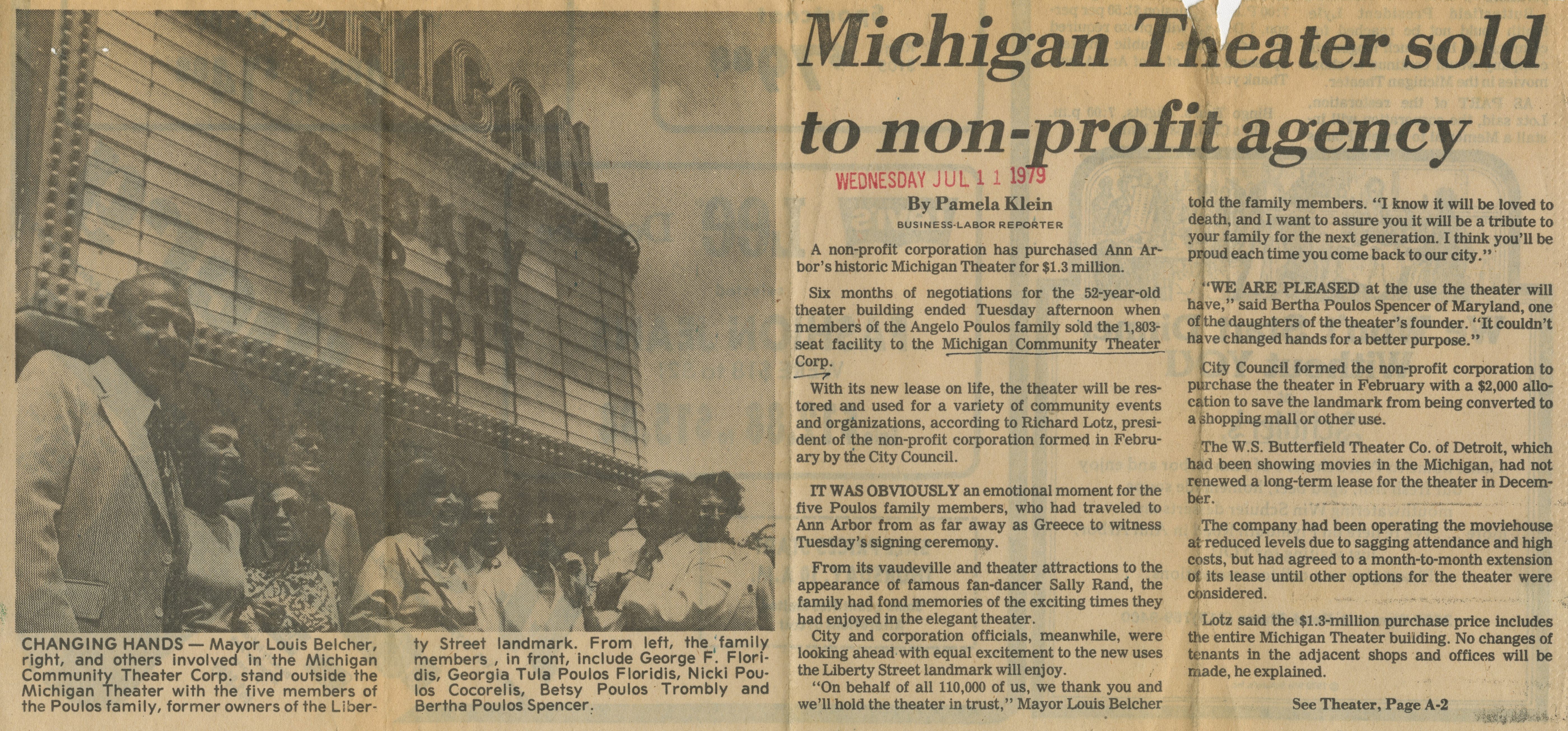 Michigan Theater Sold To Non-Profit Agency image