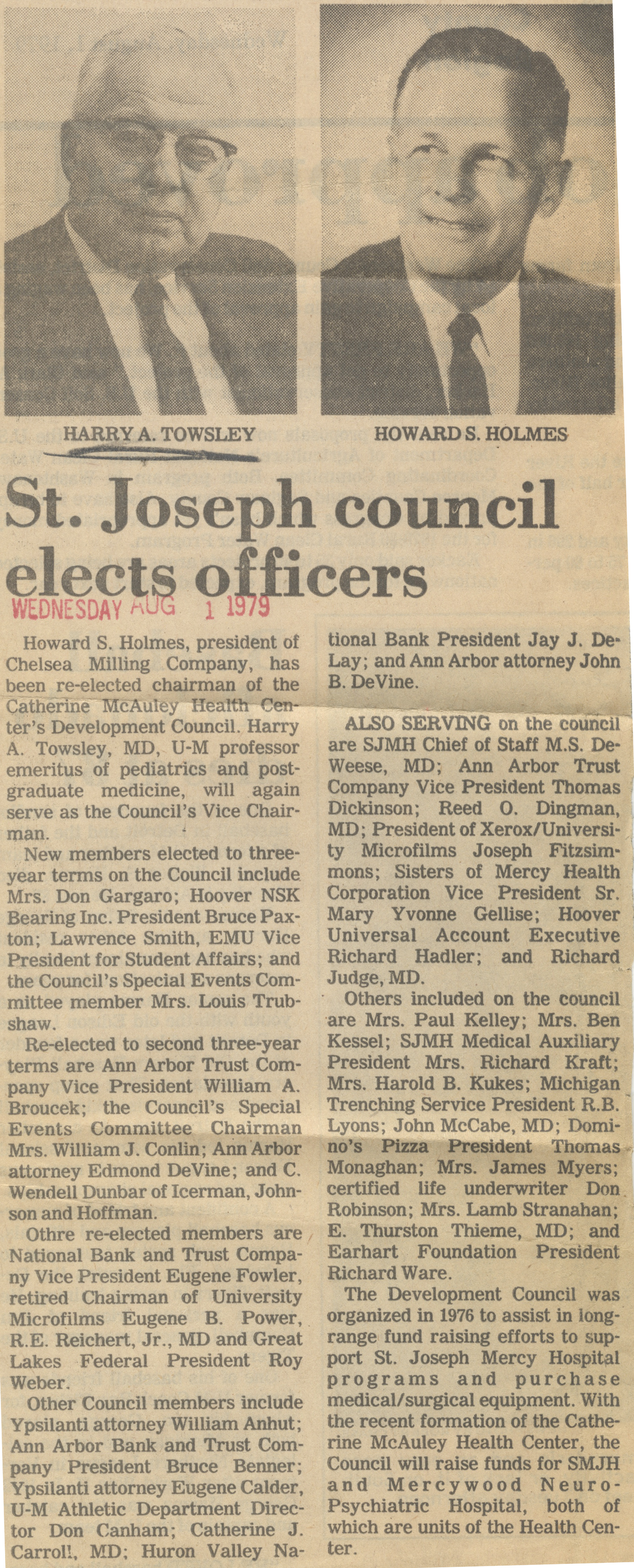 St. Joseph council elects officers image