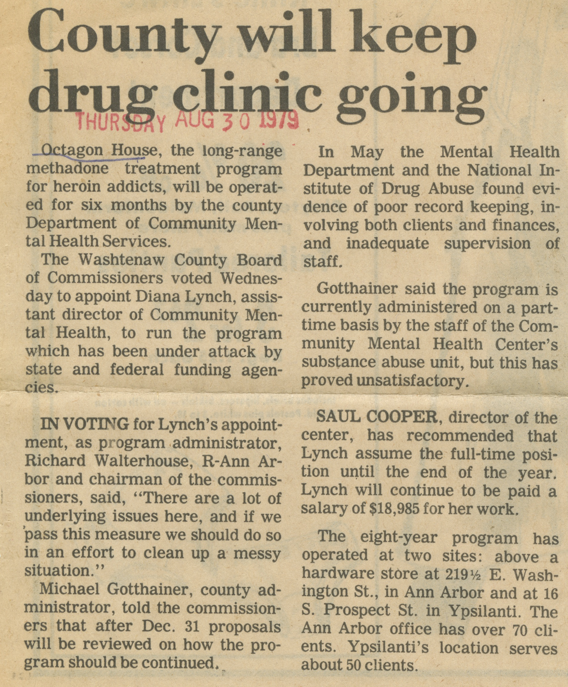 County will keep drug clinic going  image
