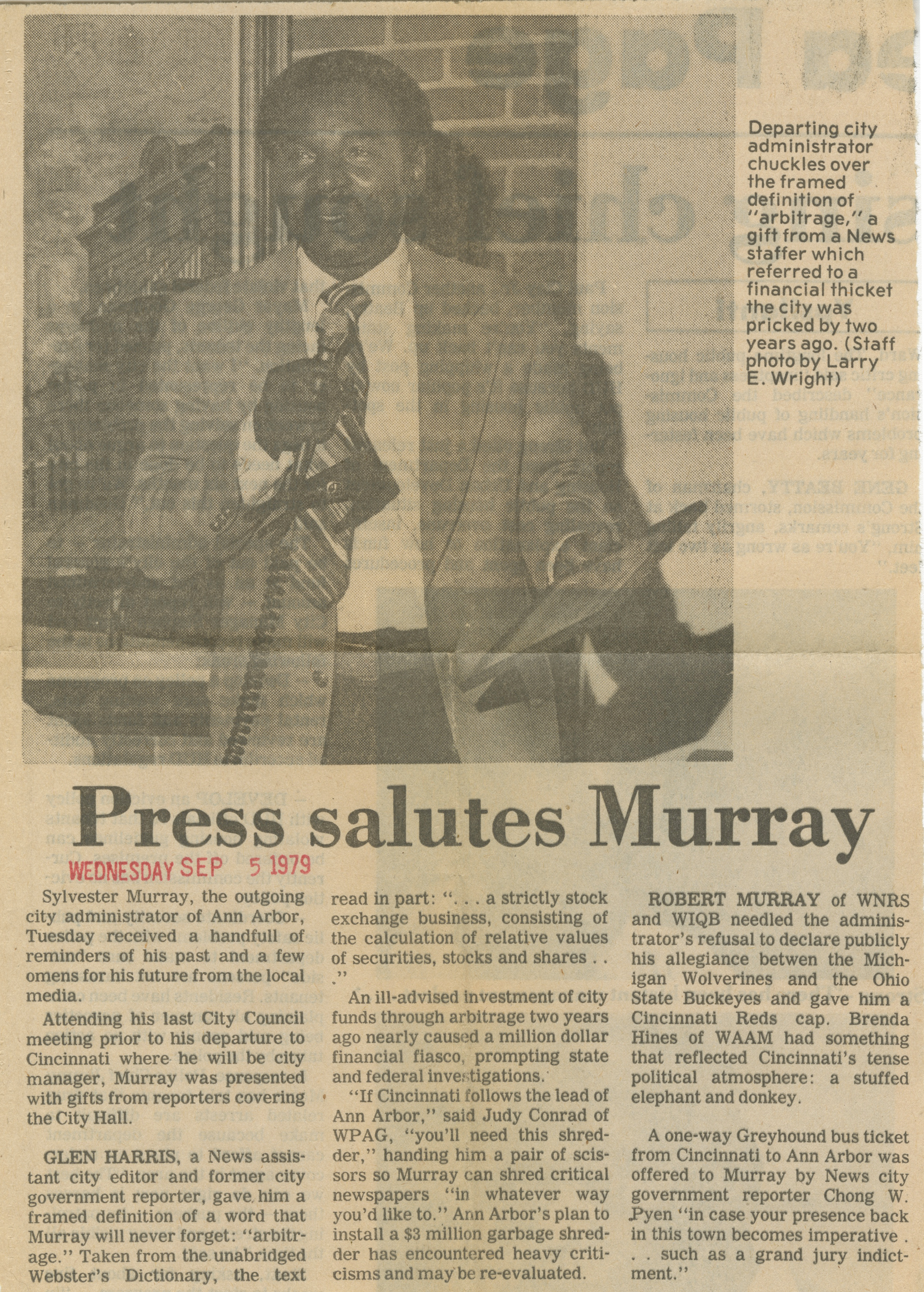 Press Salutes Murray image