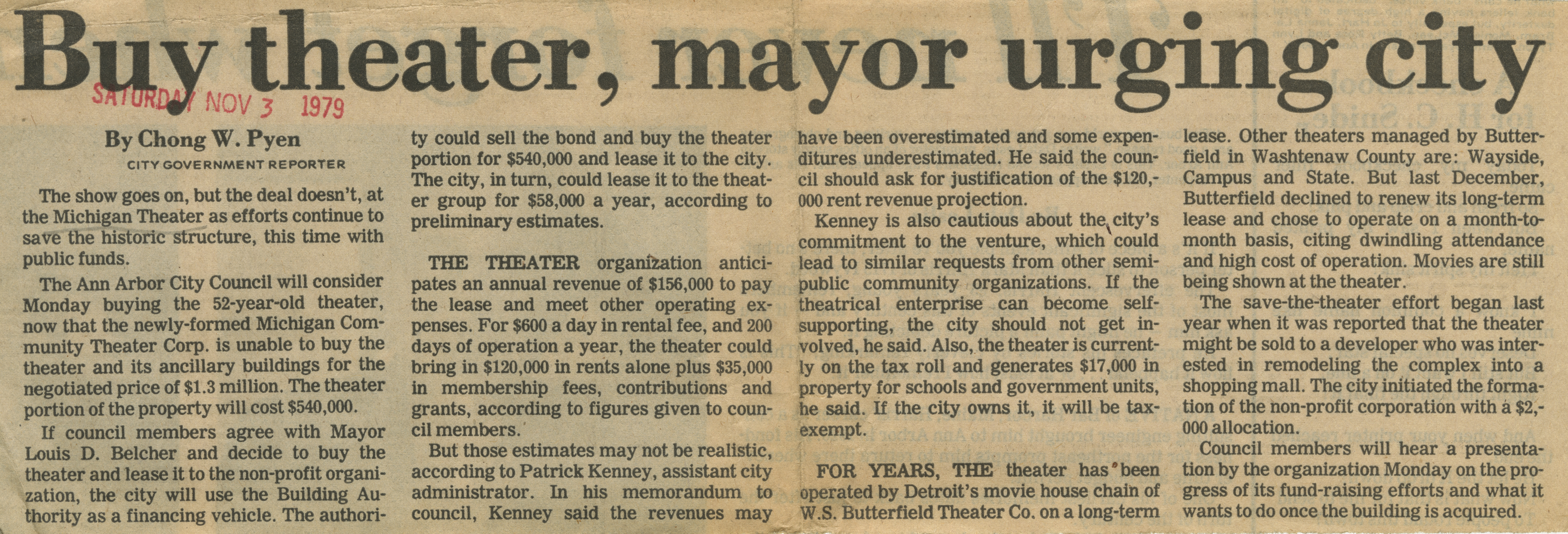 Buy Theater, Mayor Urging City image