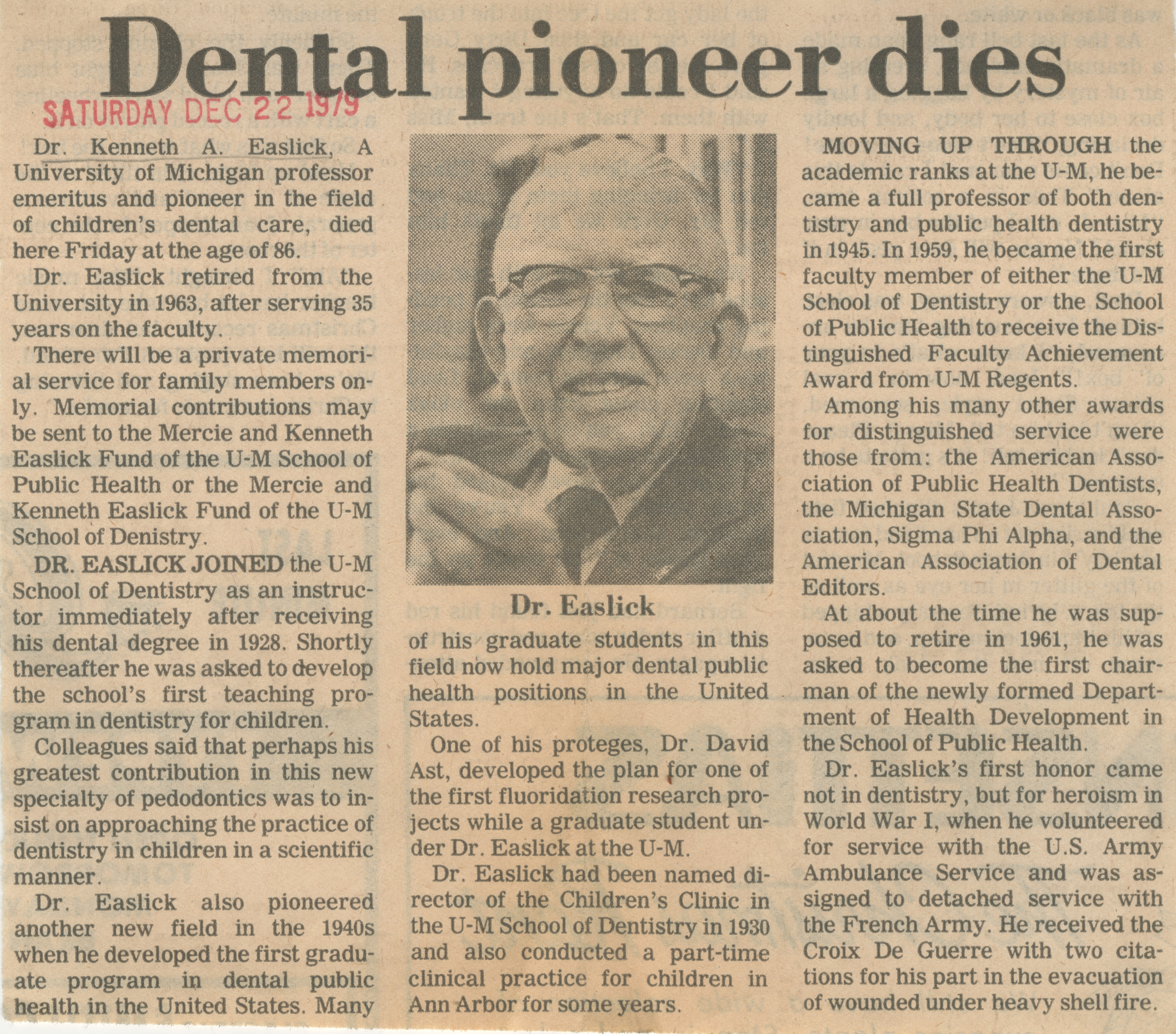 Dental pioneer dies image