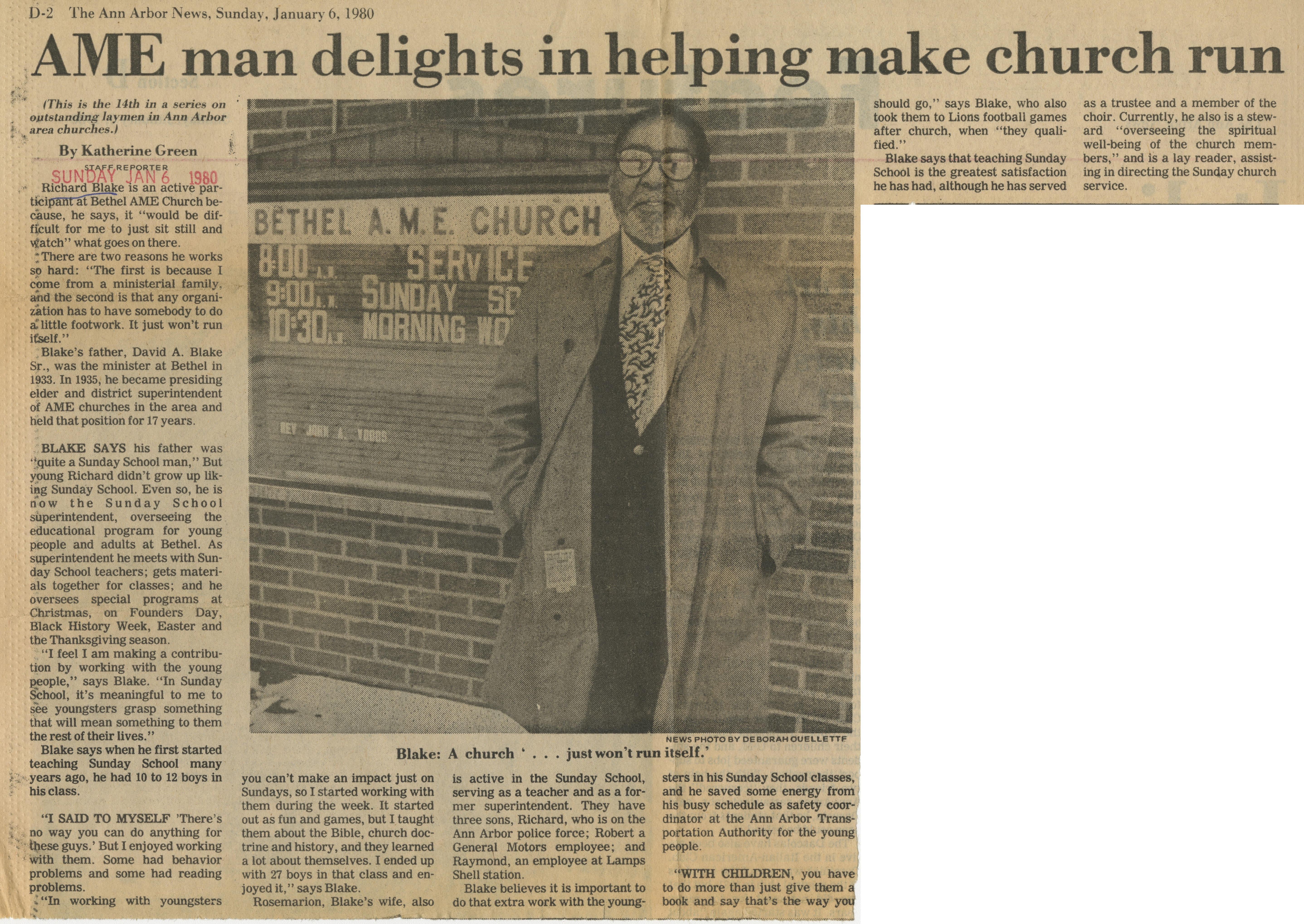 AME man delights in helping make church run image