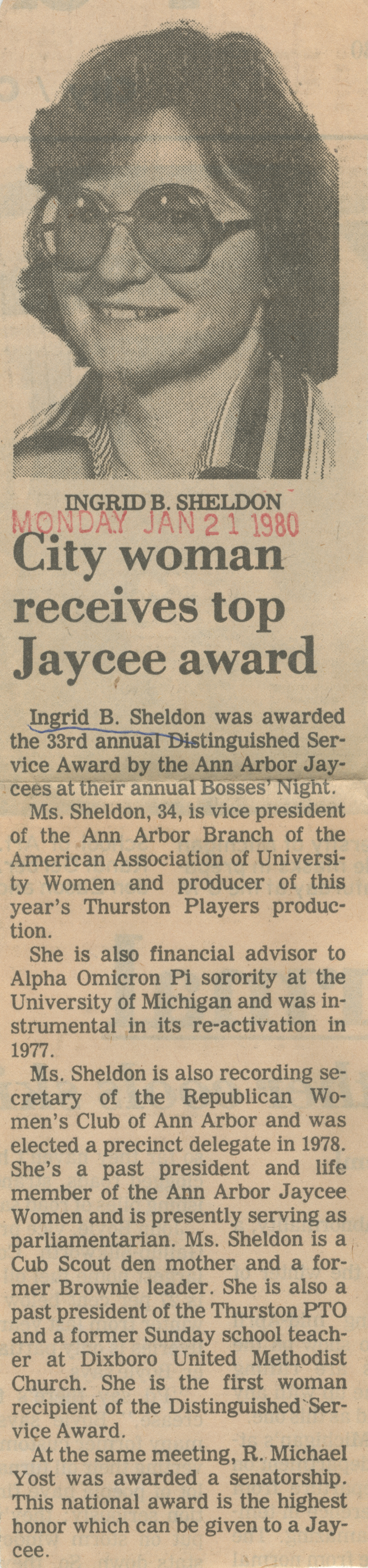 City woman receives top Jaycee award image
